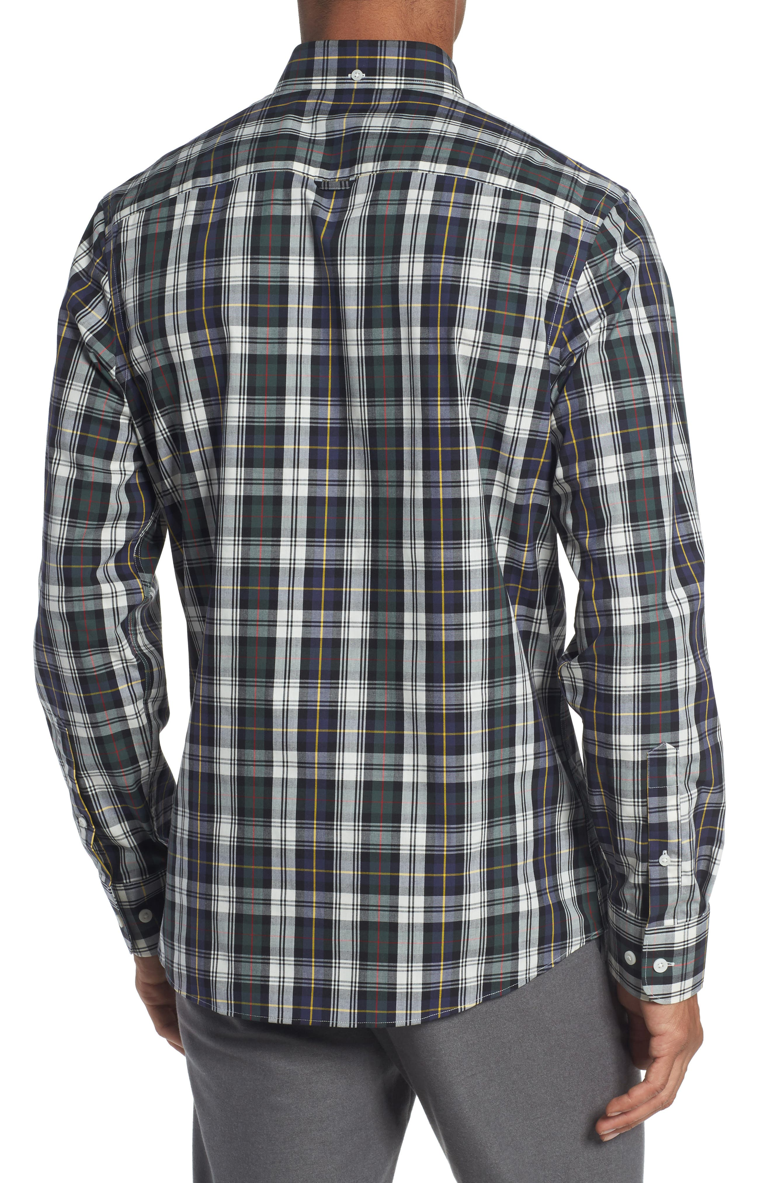 Trim Fit Non-Iron Plaid Sport Shirt,                             Alternate thumbnail 2, color,                             Ivory Egret Green Tartan