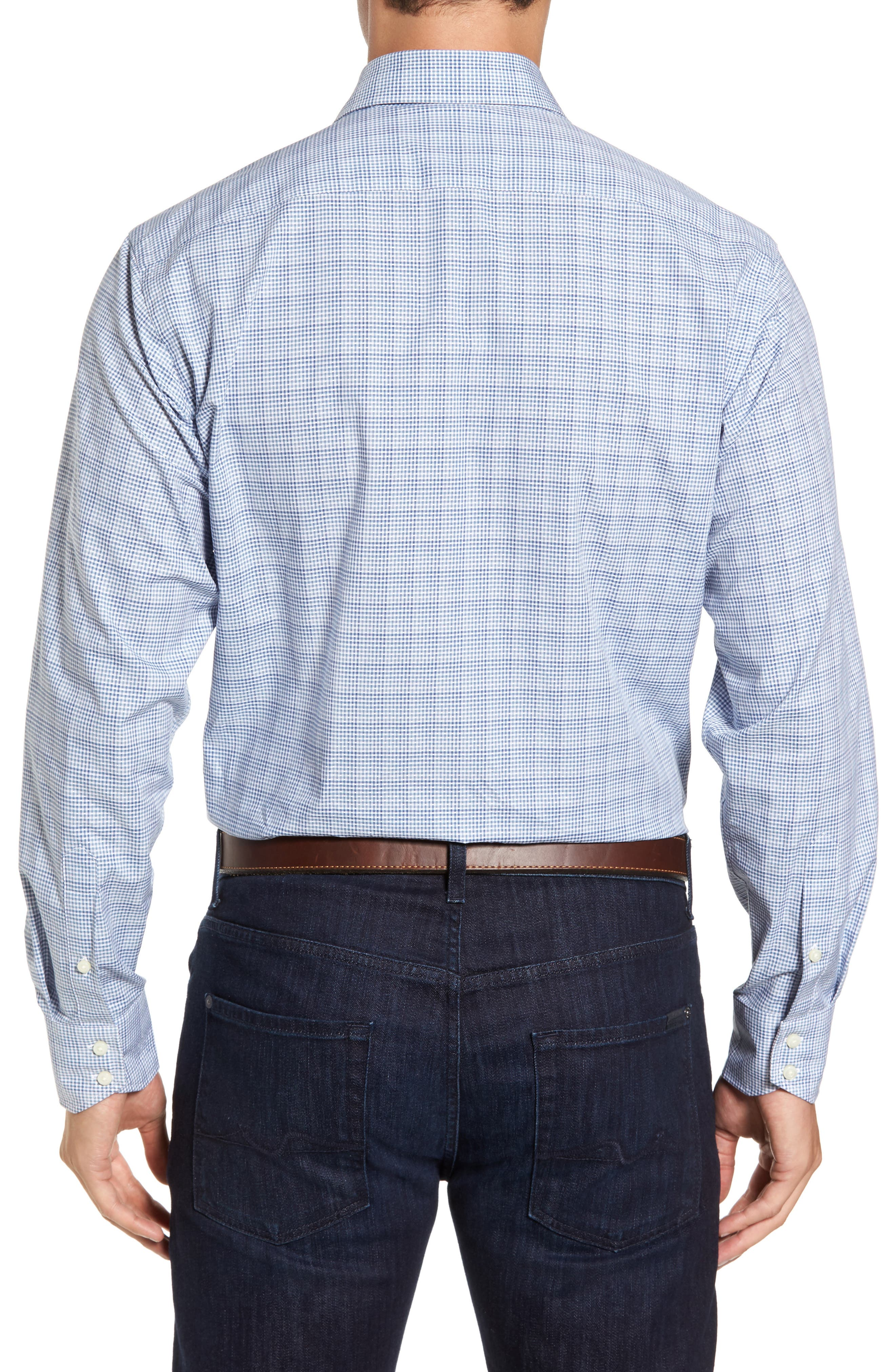 Regular Fit Dobby Check Sport Shirt,                             Alternate thumbnail 2, color,                             Blue
