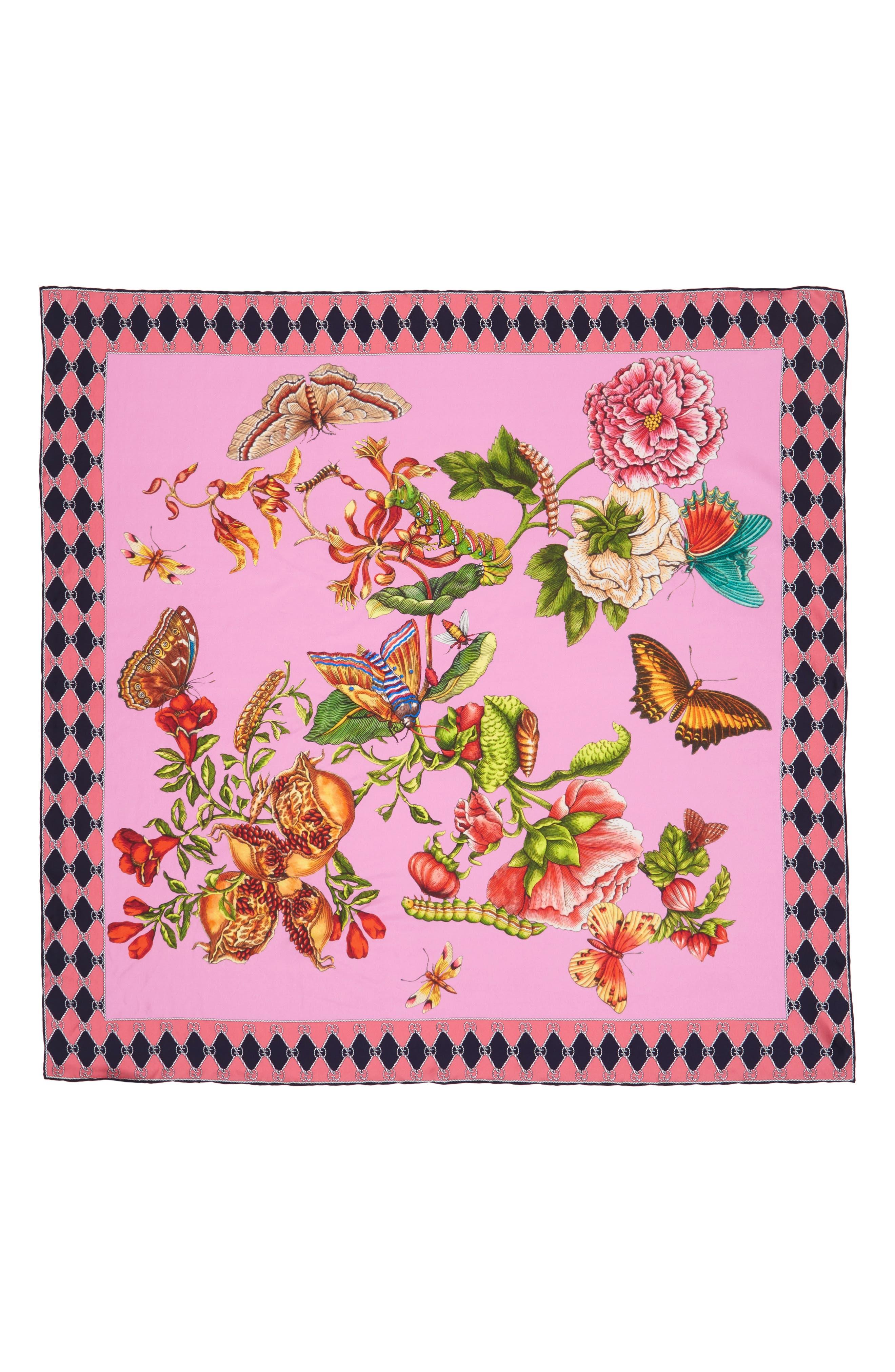 Gucci Foulard Chane Bouquet Silk Scarf