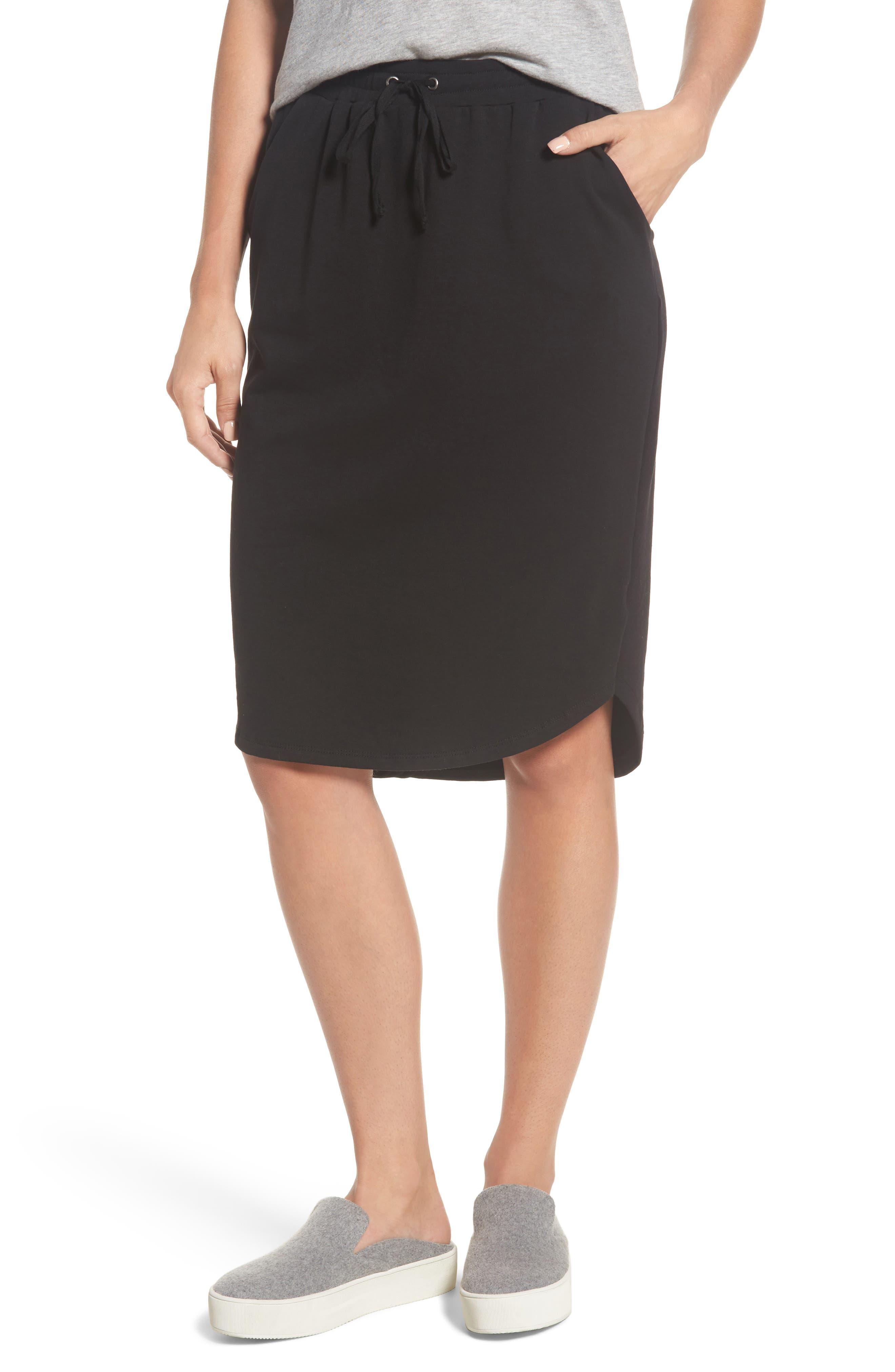 Jogger Stretch Midi Skirt,                             Main thumbnail 1, color,                             Black
