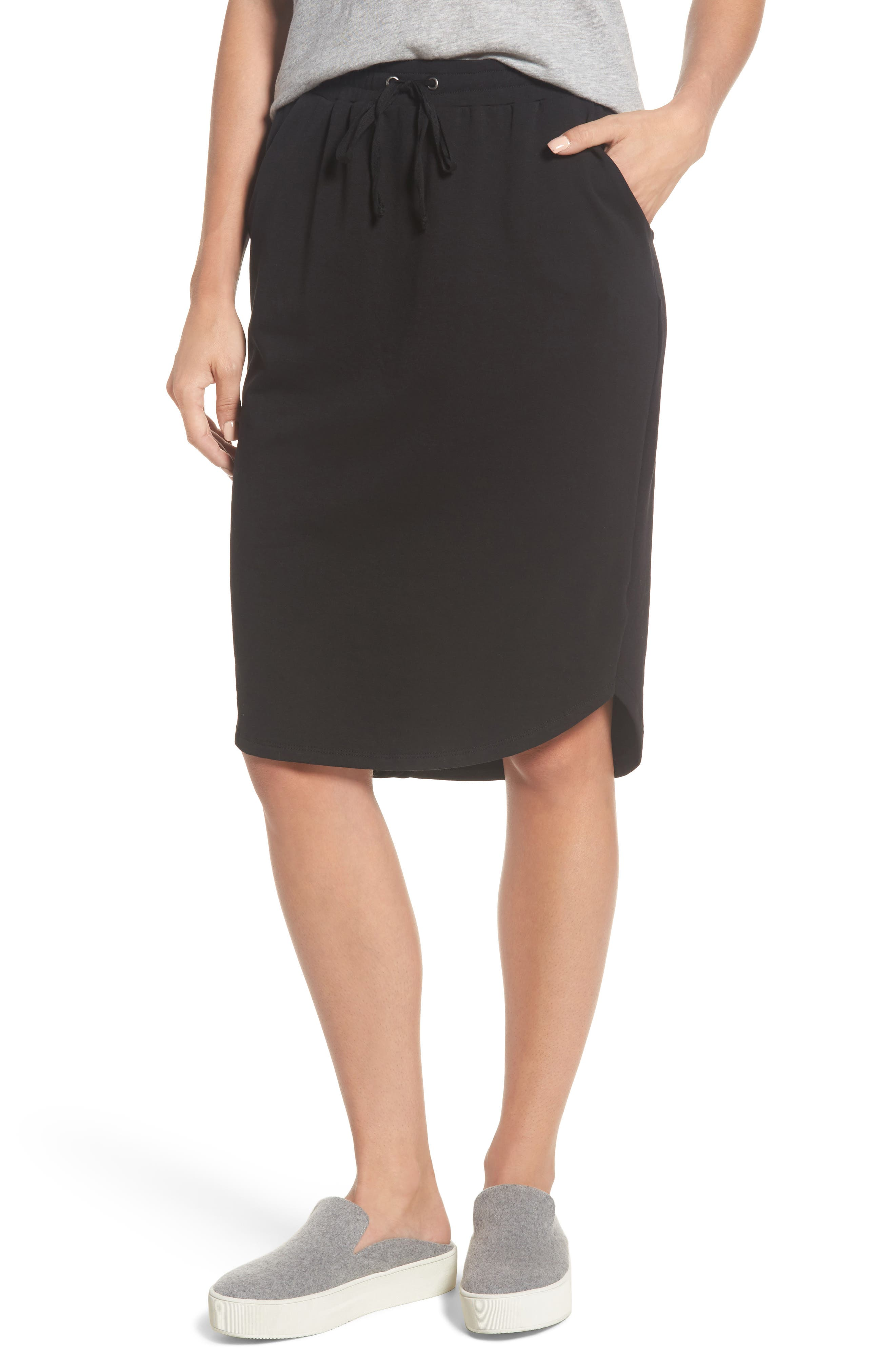 Bobeau Jogger Stretch Midi Skirt (Regular & Petite)