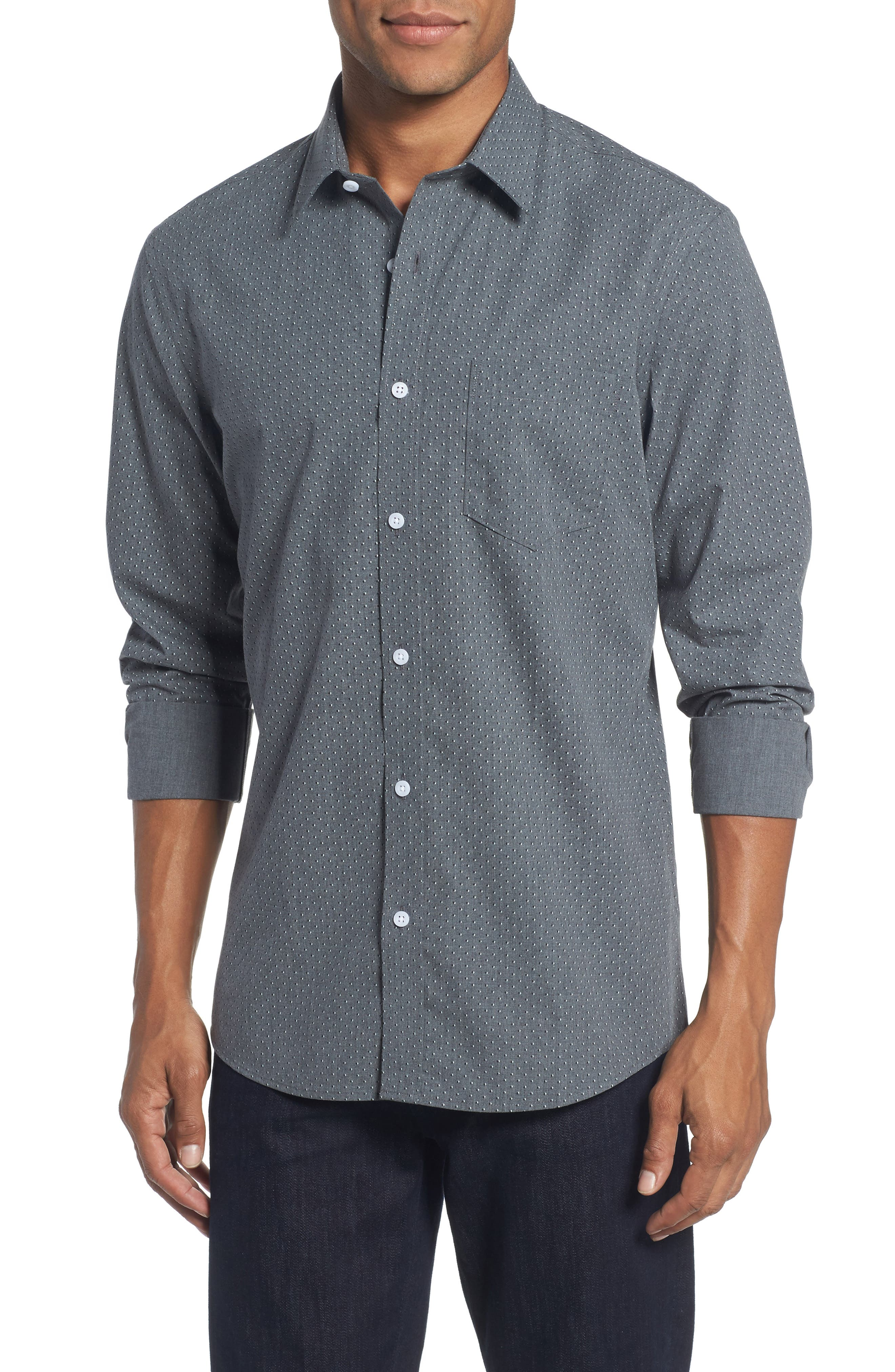 Nordstrom Men's Shop Trim Fit Non-Iron Dot Print Sport Shirt
