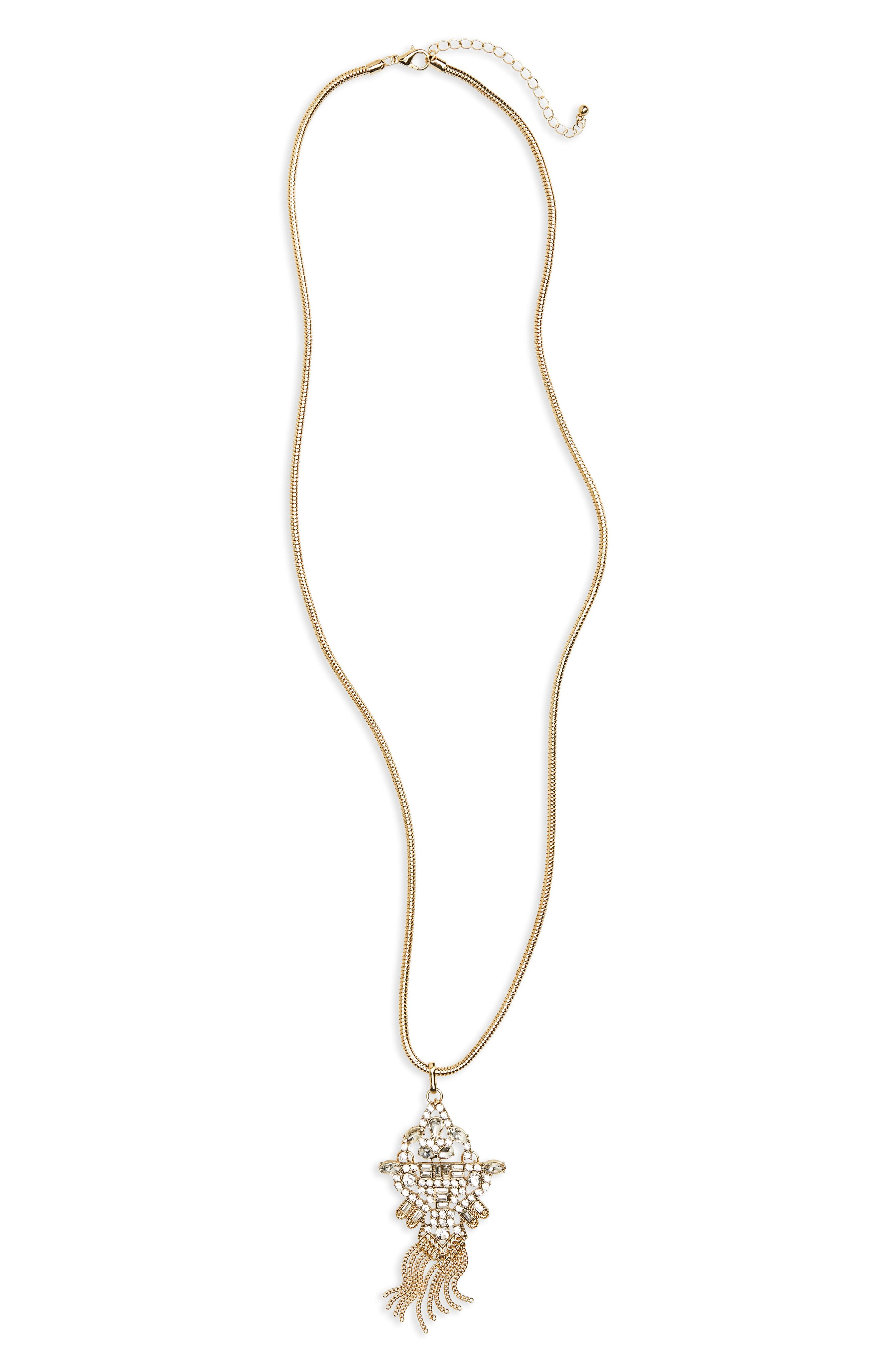 Crystal Pendant Necklace,                         Main,                         color, Gold/ Crystal