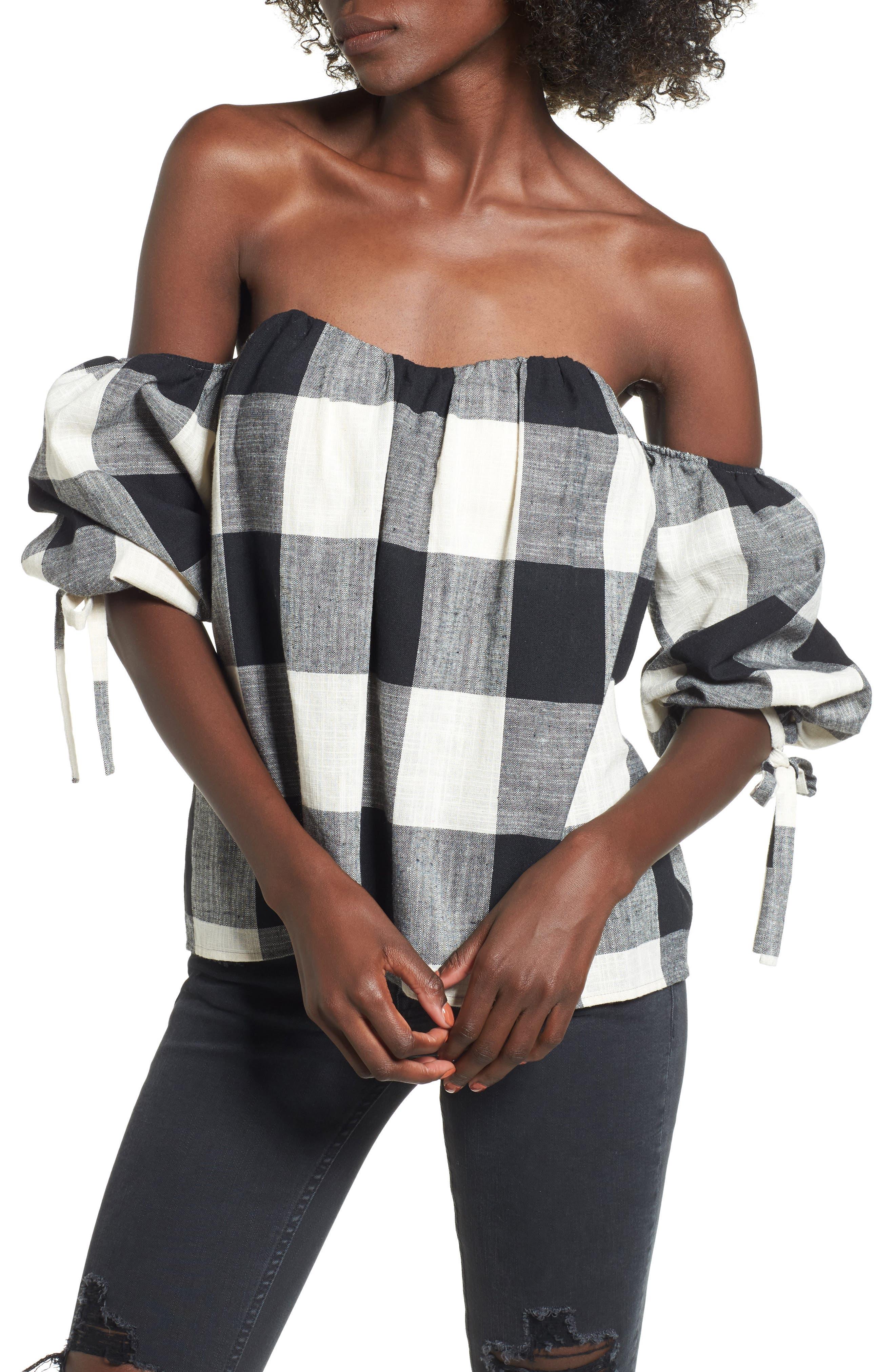 Orai Off the Shoulder Top,                         Main,                         color, Black Check