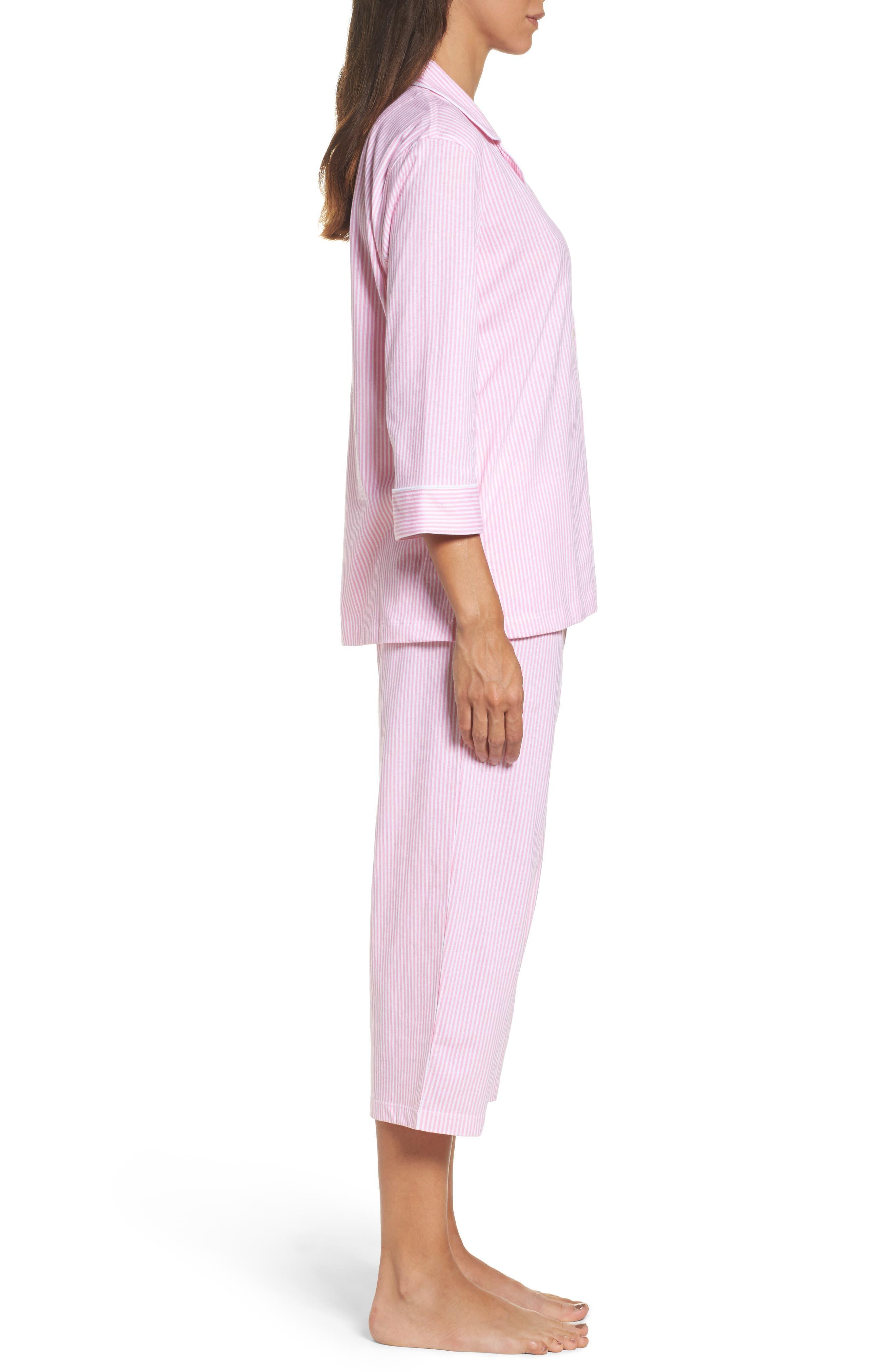 Knit Crop Pajamas,                             Alternate thumbnail 3, color,                             Lagoon Pink/ White Stripe
