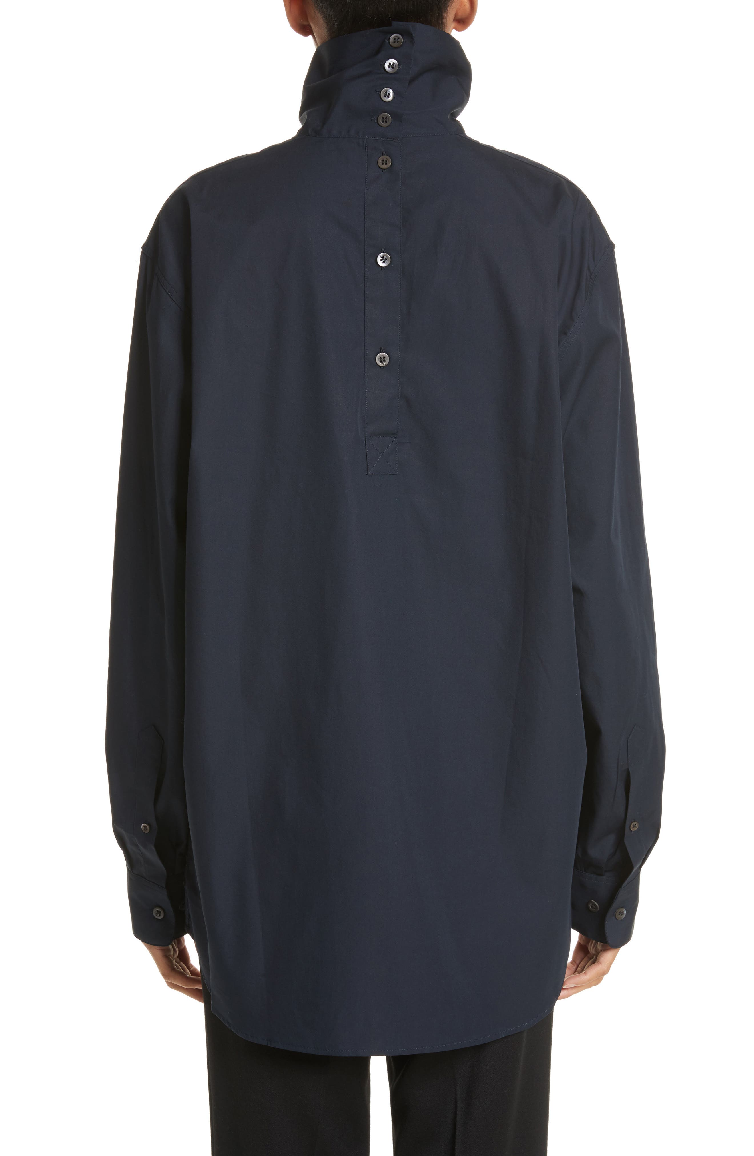 Alternate Image 2  - Dries Van Noten Cotton Poplin Mock Neck Shirt