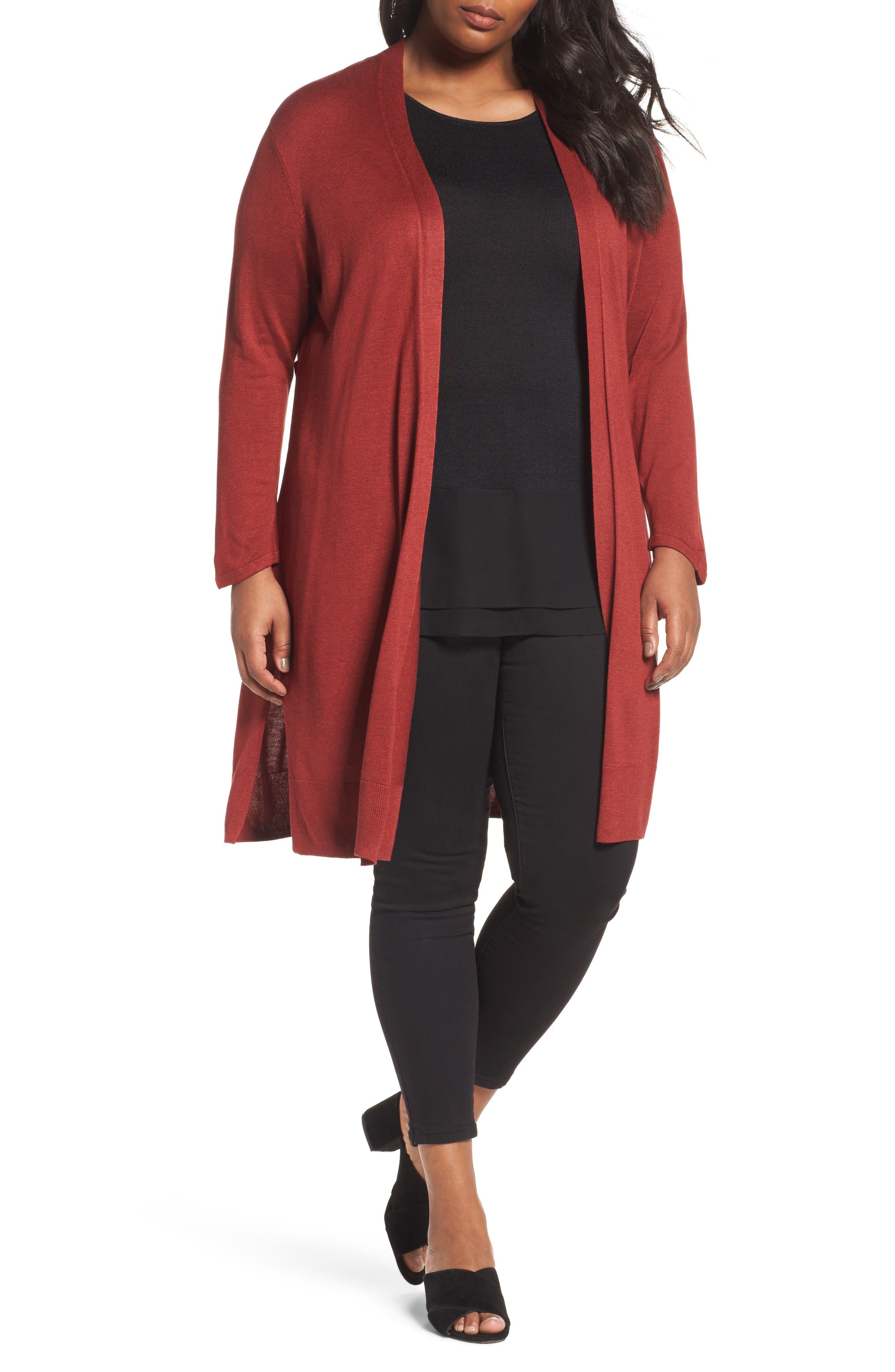 Main Image - NIC+ZOE Silk Blend Trench Cardigan (Plus Size)