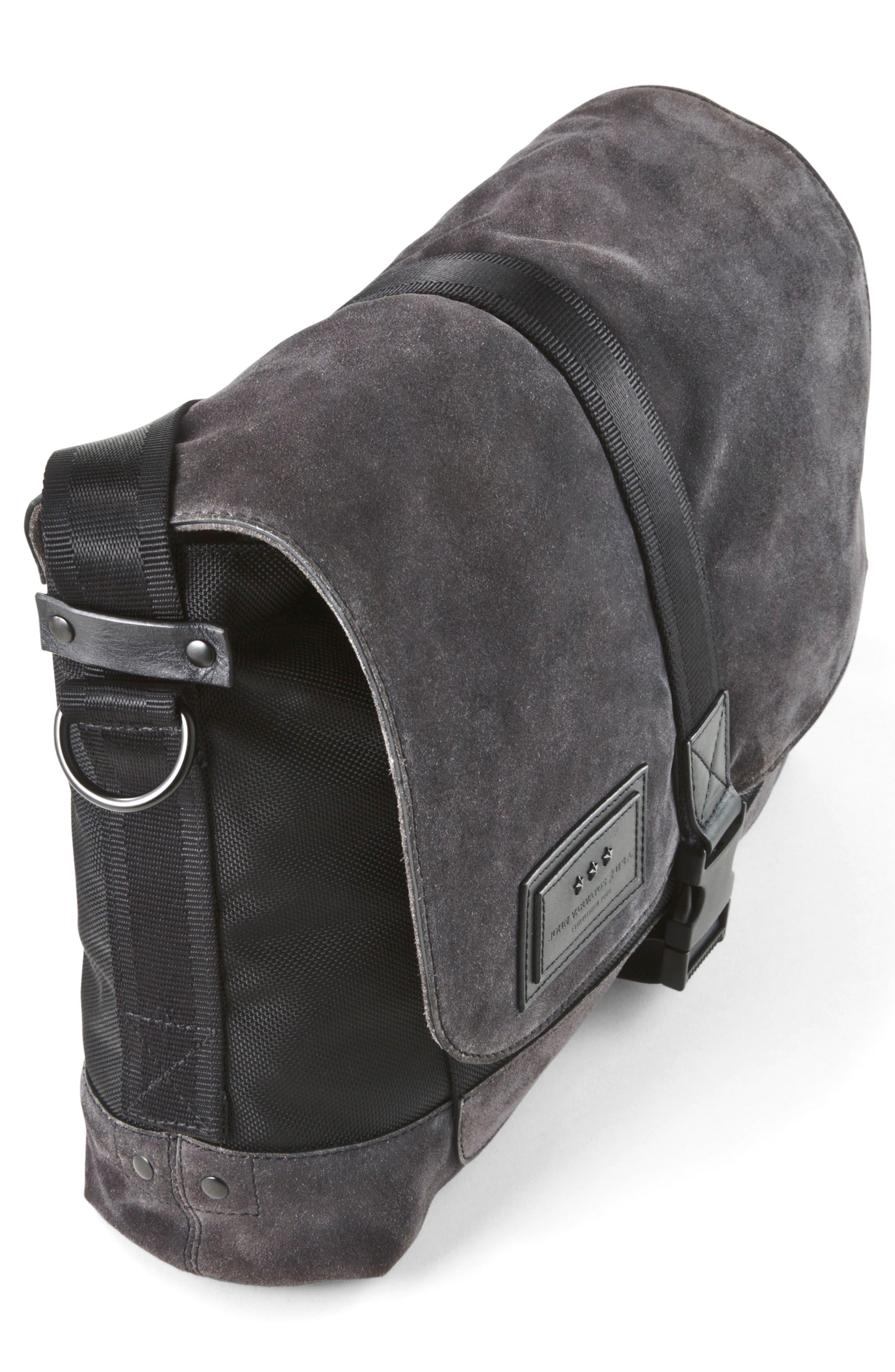 Suede & Ballistic Nylon Messenger Bag,                             Alternate thumbnail 4, color,                             Elephant
