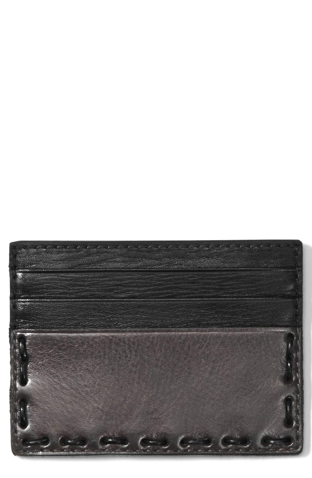 Leather Card Case,                         Main,                         color, Elephant
