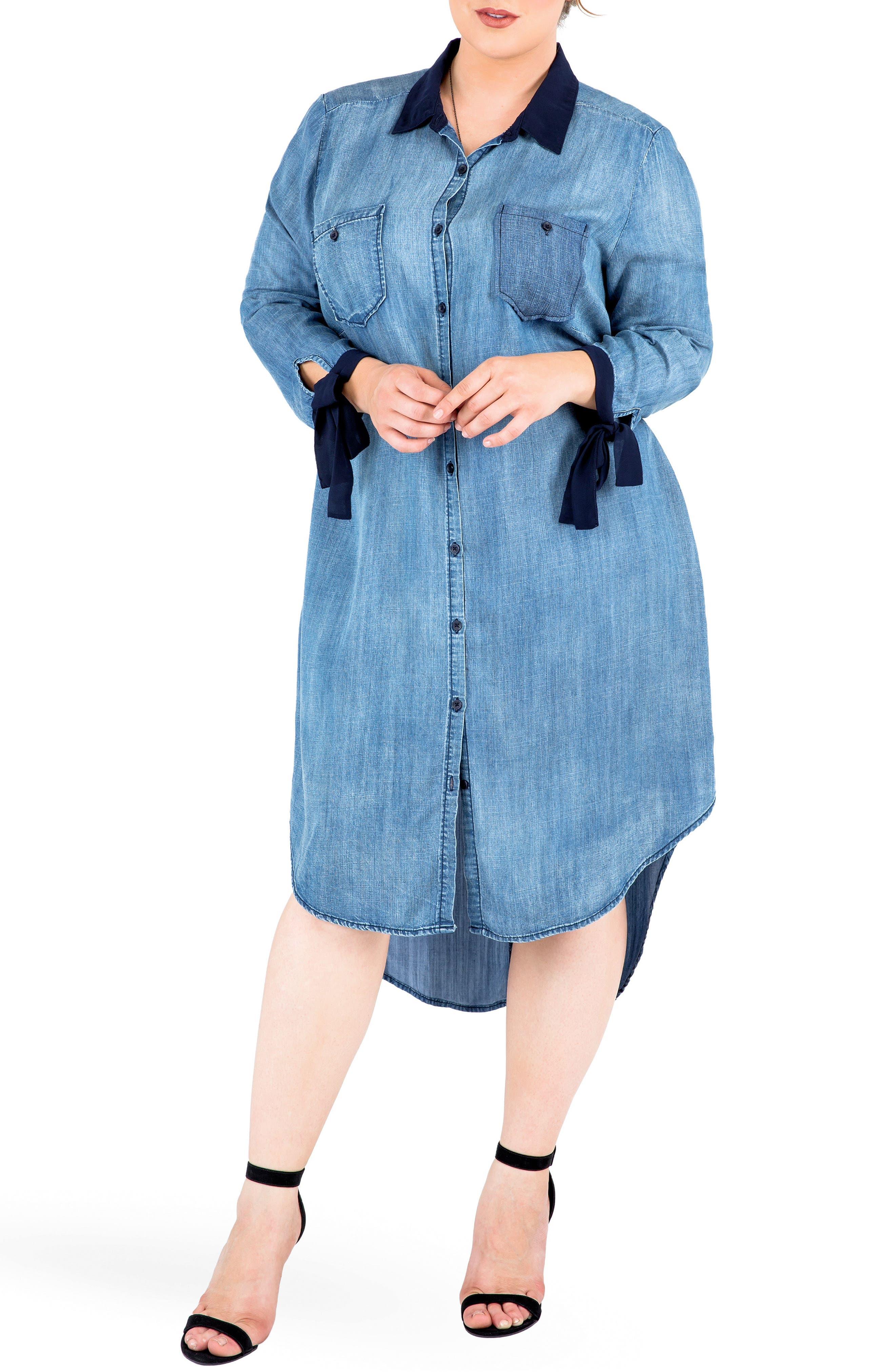 Main Image - Standards & Practices High/Low Denim Shirtdress (Plus Size)