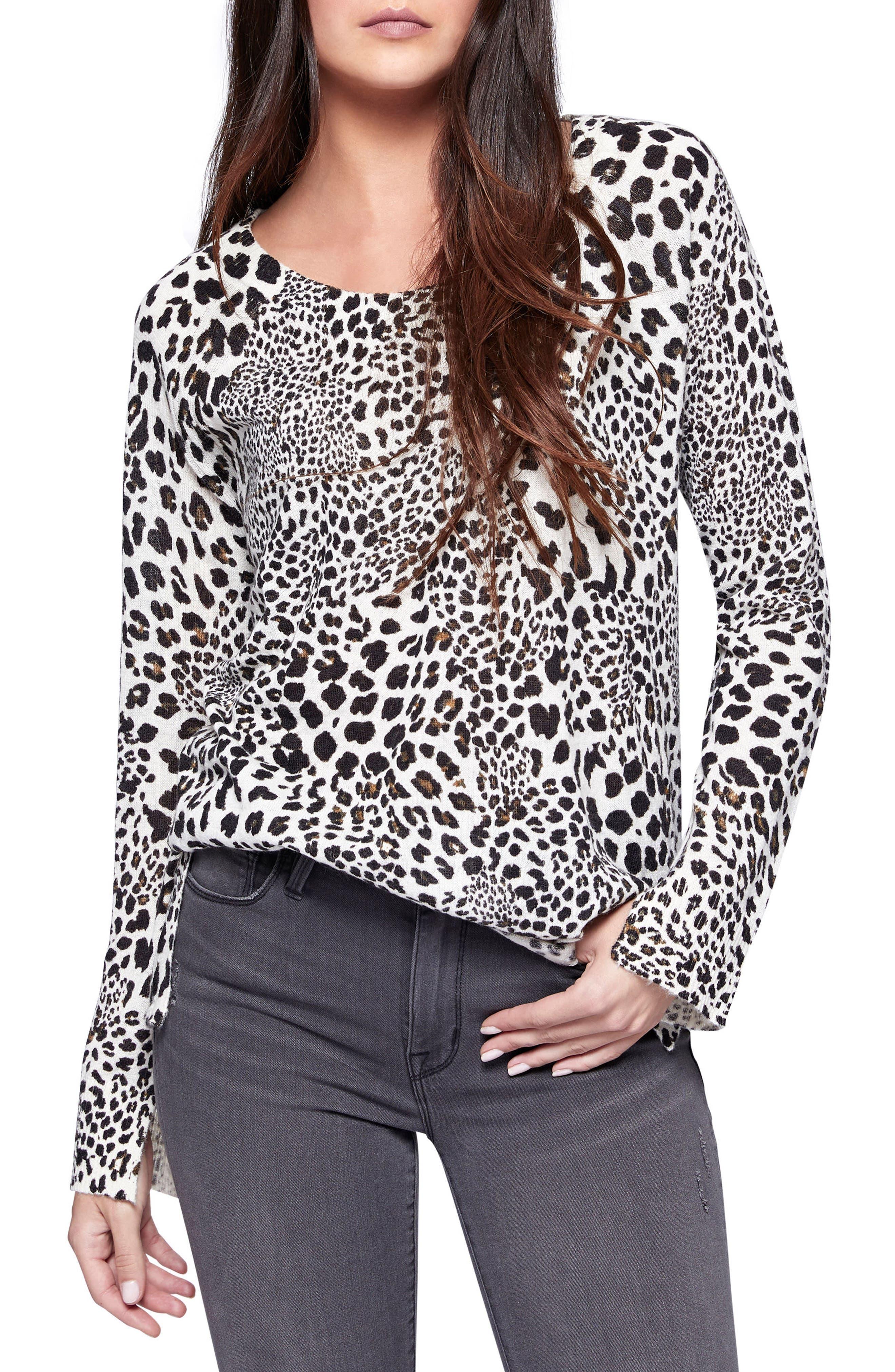 Cabaret Crew Animal Print Sweater,                         Main,                         color, Cabernet Leopard