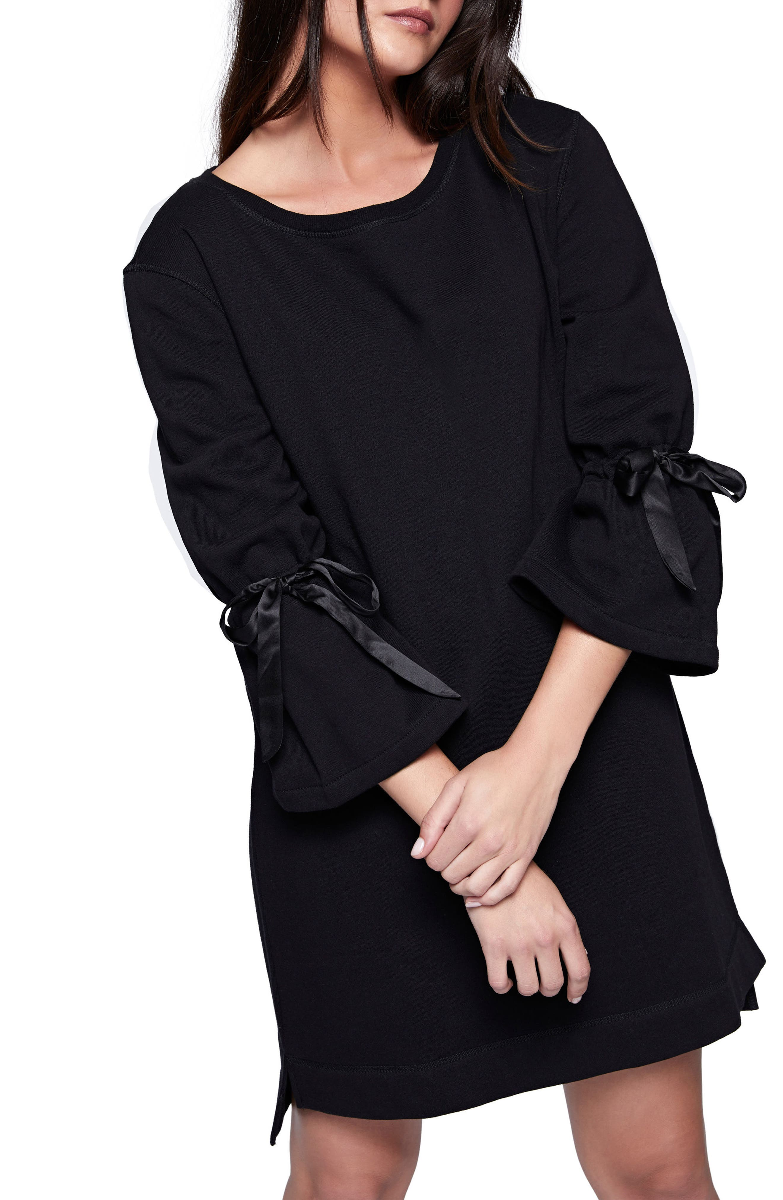 Bell Sleeve Sweatshirt Dress,                             Main thumbnail 1, color,                             Black