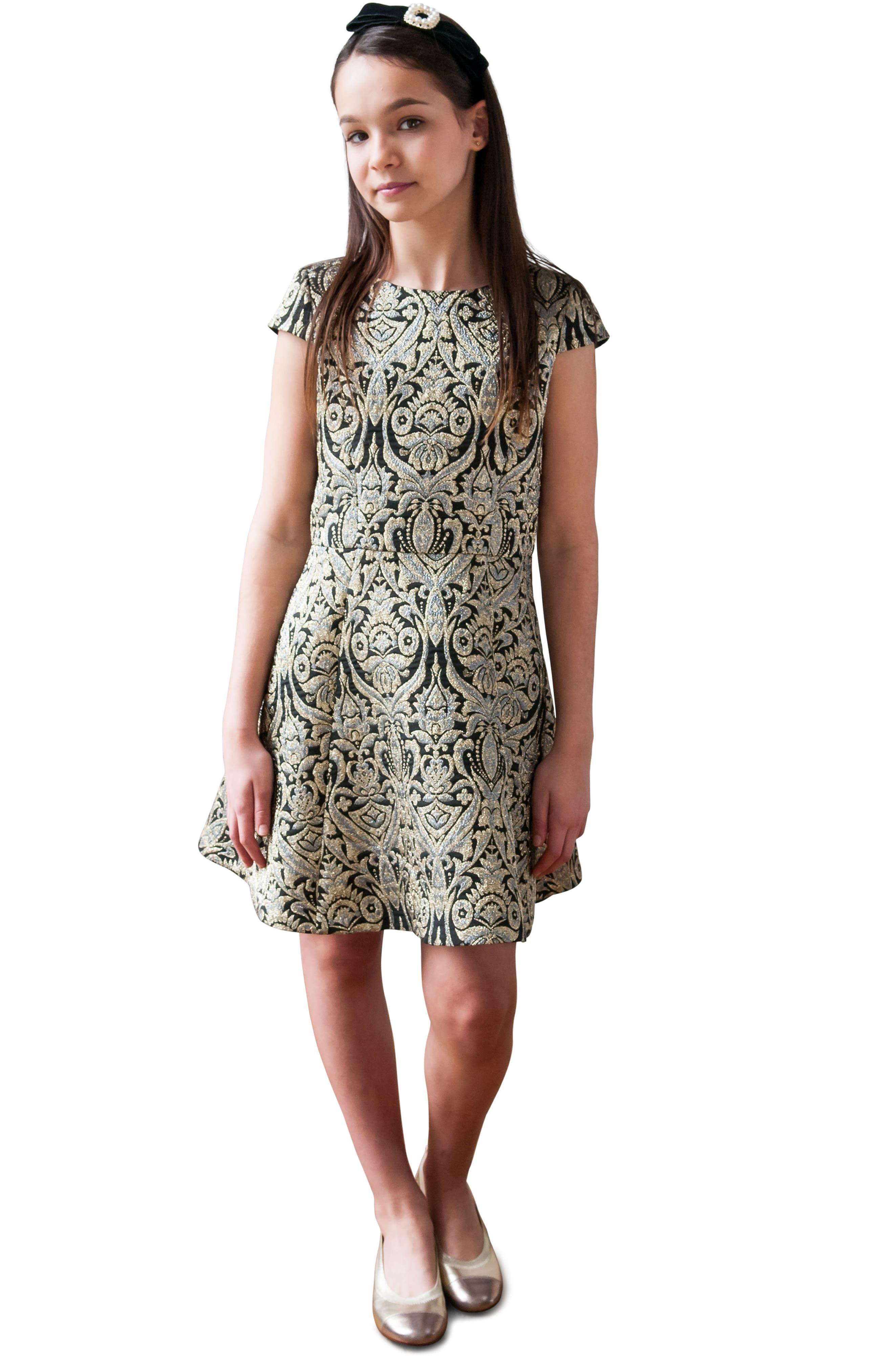 Alternate Image 2  - David Charles Cap Sleeve Brocade Dress (Big Girls)