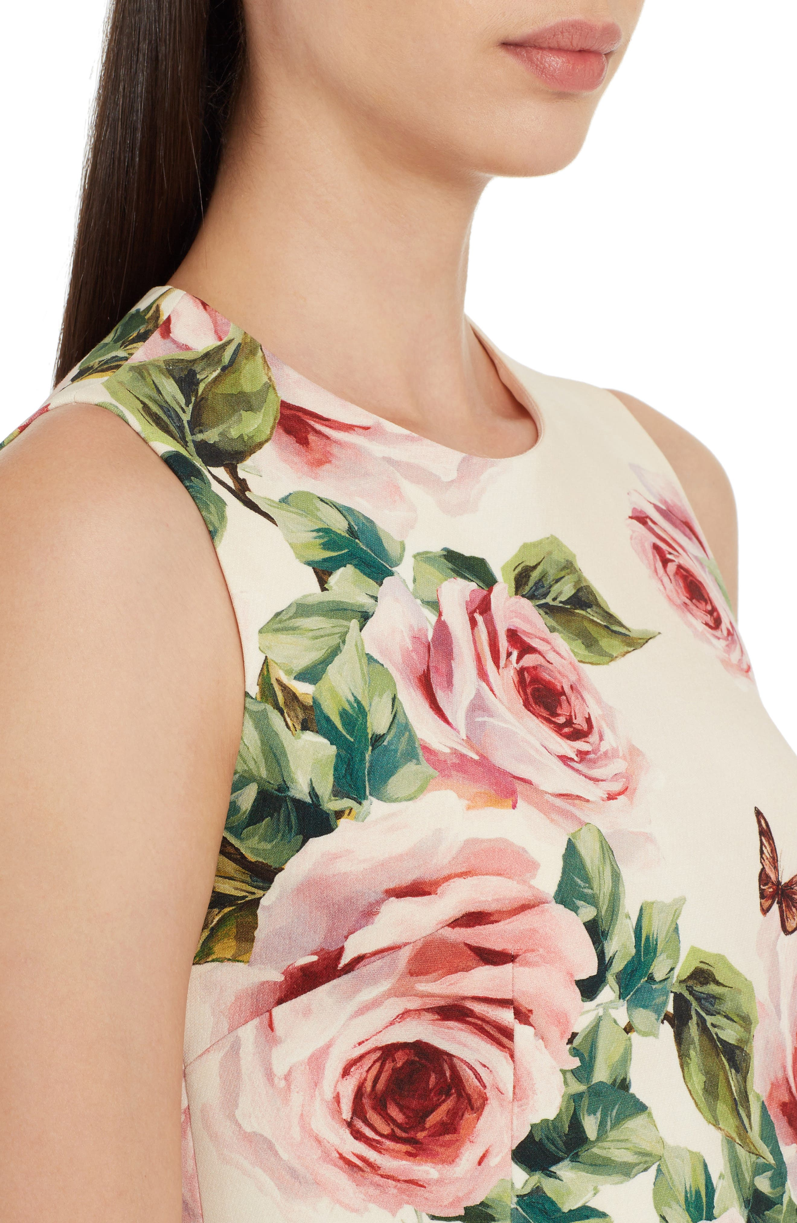 Rose Print Wool & Silk Shift Dress,                             Alternate thumbnail 4, color,                             Pink