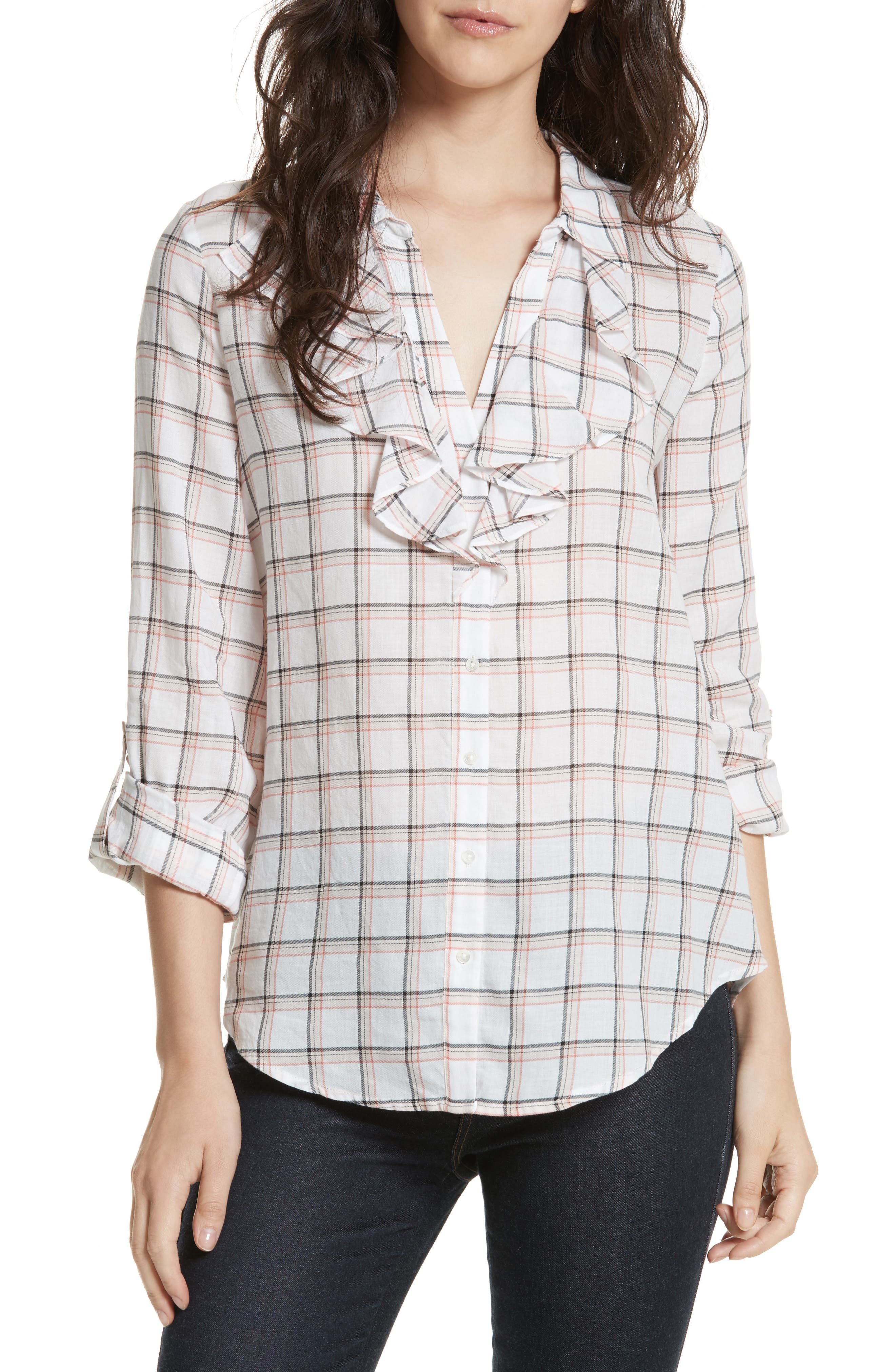 Fara Plaid Top,                         Main,                         color, Porcelain