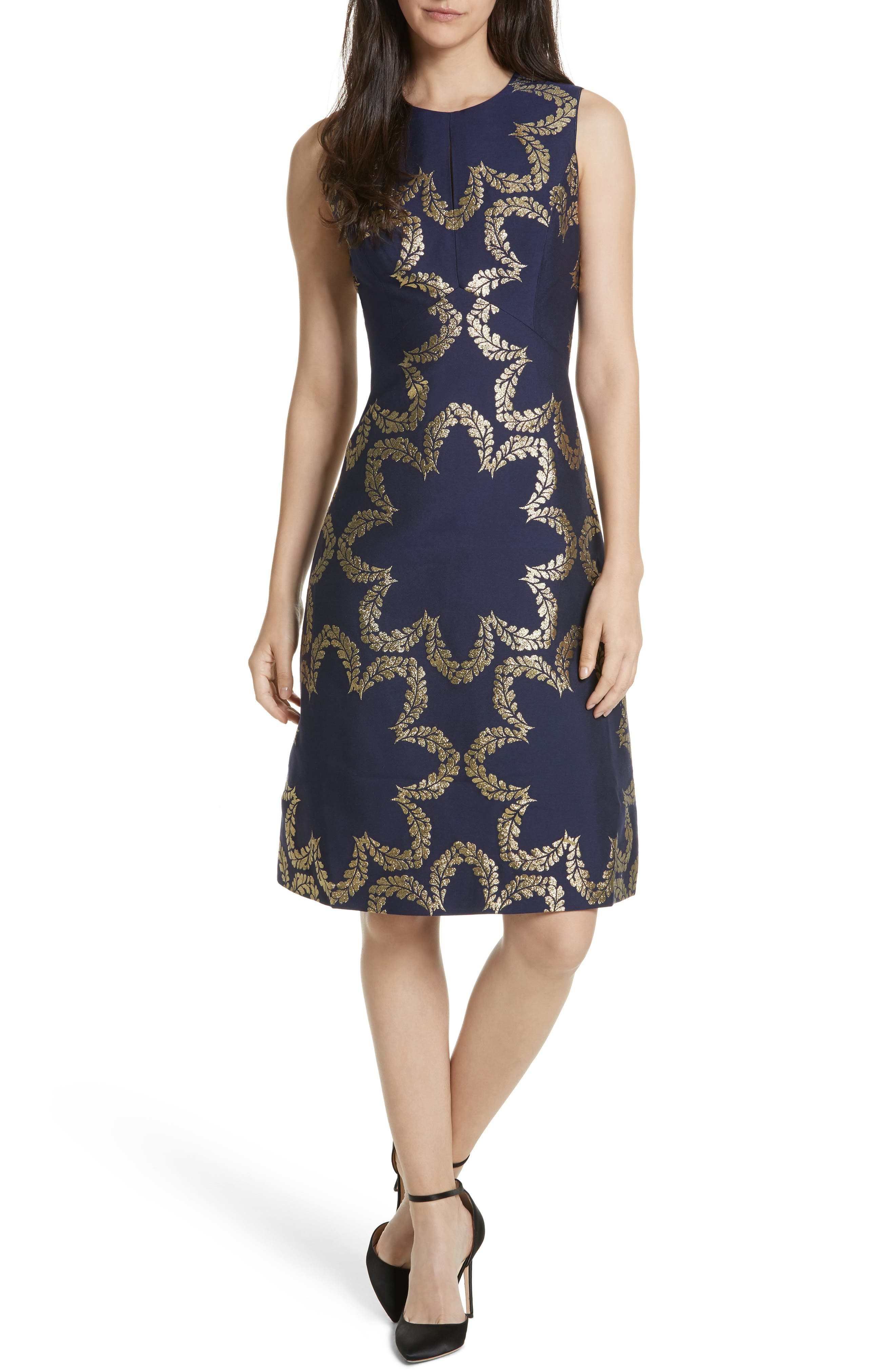 Kyoto Fit & Flare Dress,                         Main,                         color, Mid Blue