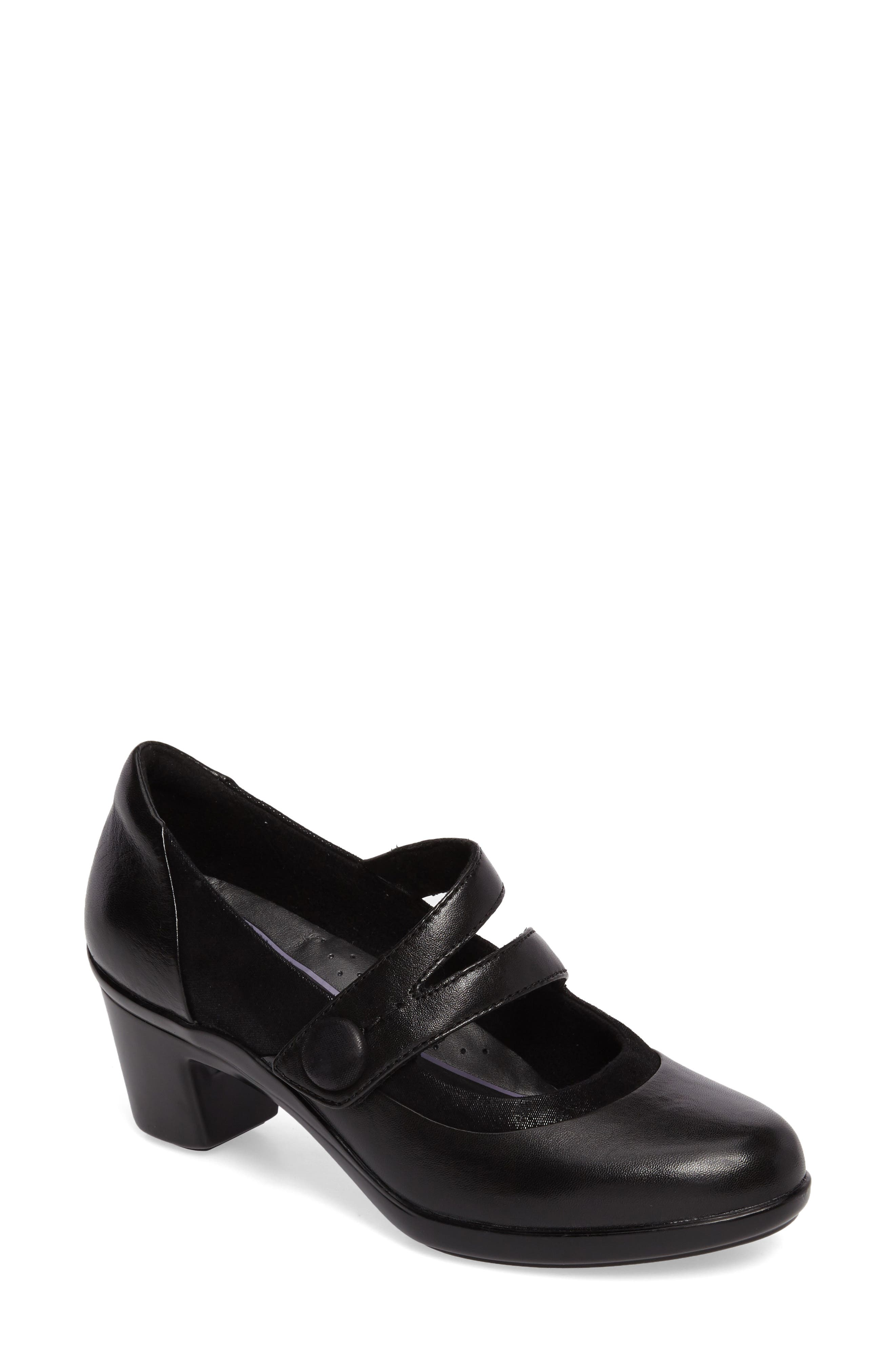 Lexee Mary Jane Pump,                         Main,                         color, Black Leather