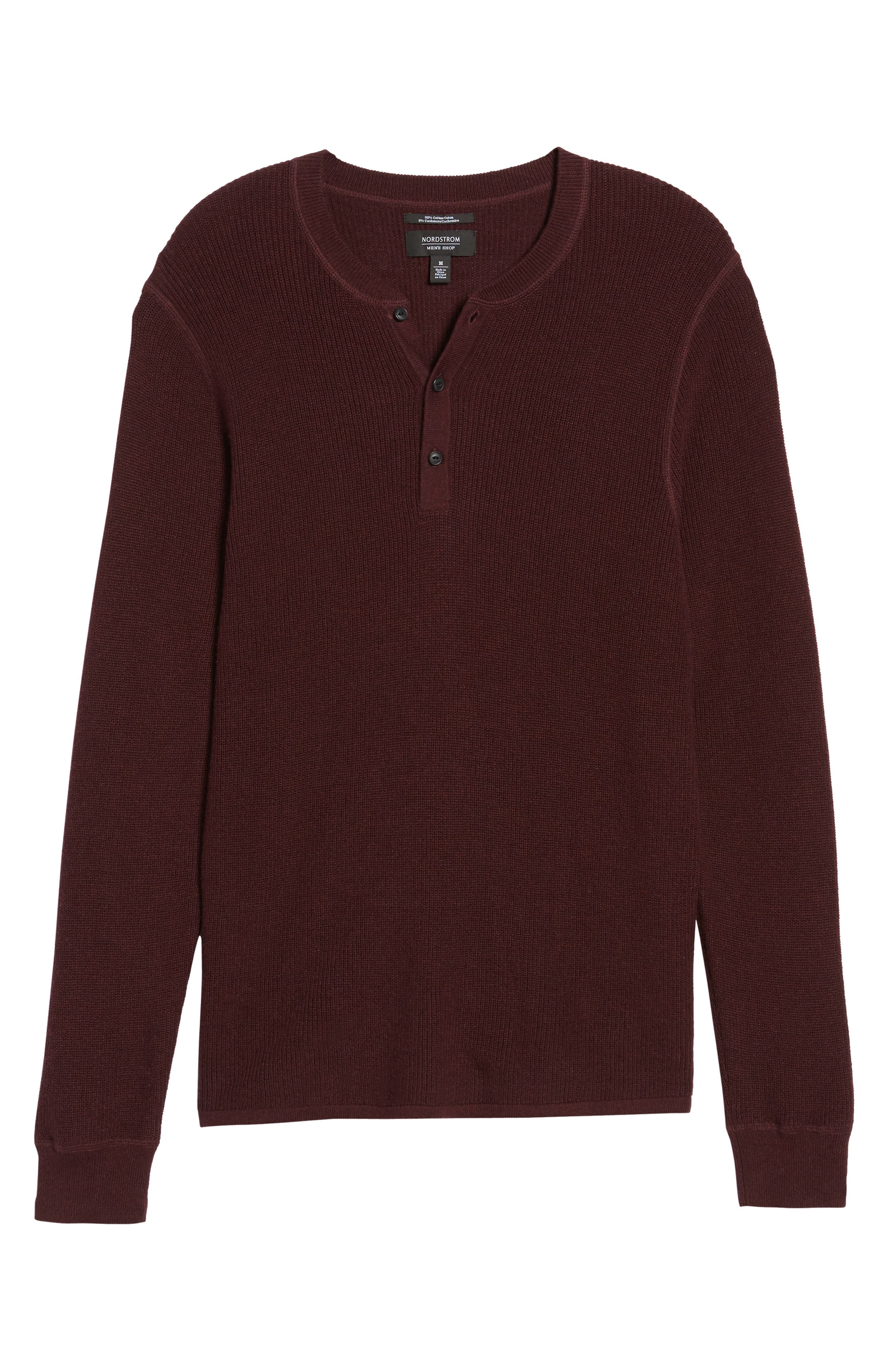 Cotton & Cashmere Henley Sweater,                             Alternate thumbnail 6, color,                             Burgundy Fudge Heather
