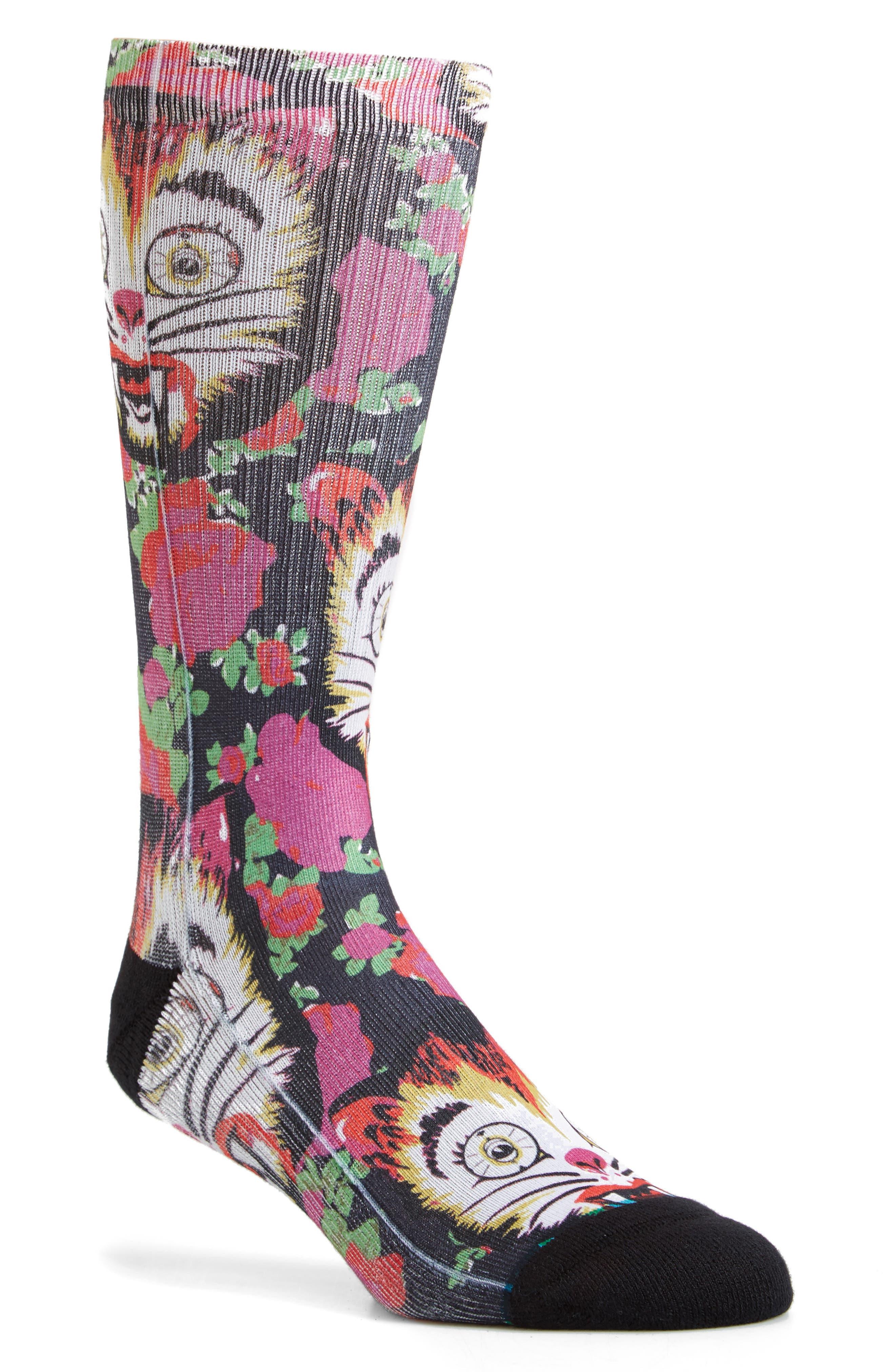 Cat Man Do Crew Socks,                         Main,                         color, Pink Multi