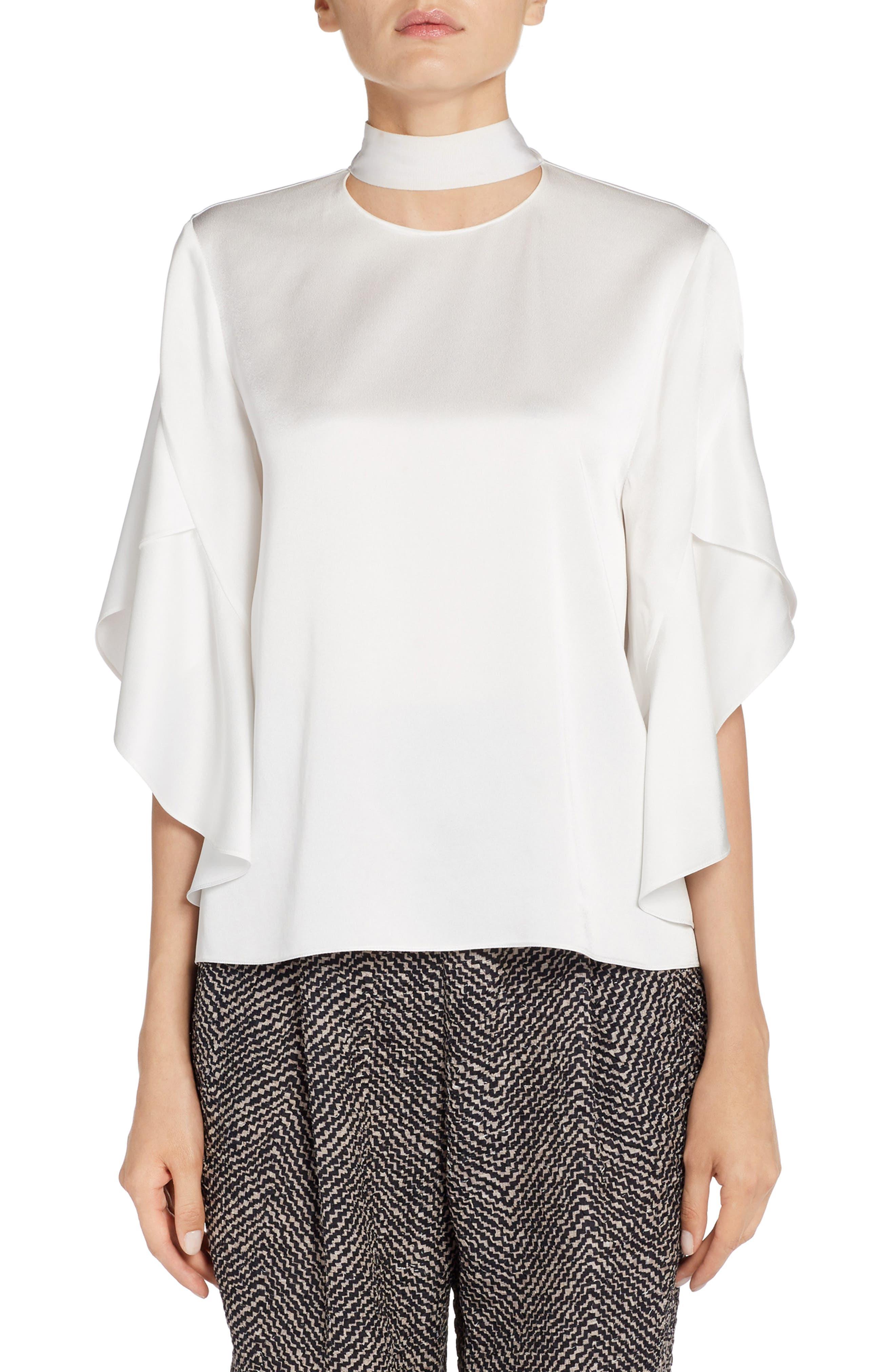 Drape Satin Cady Top,                         Main,                         color, White