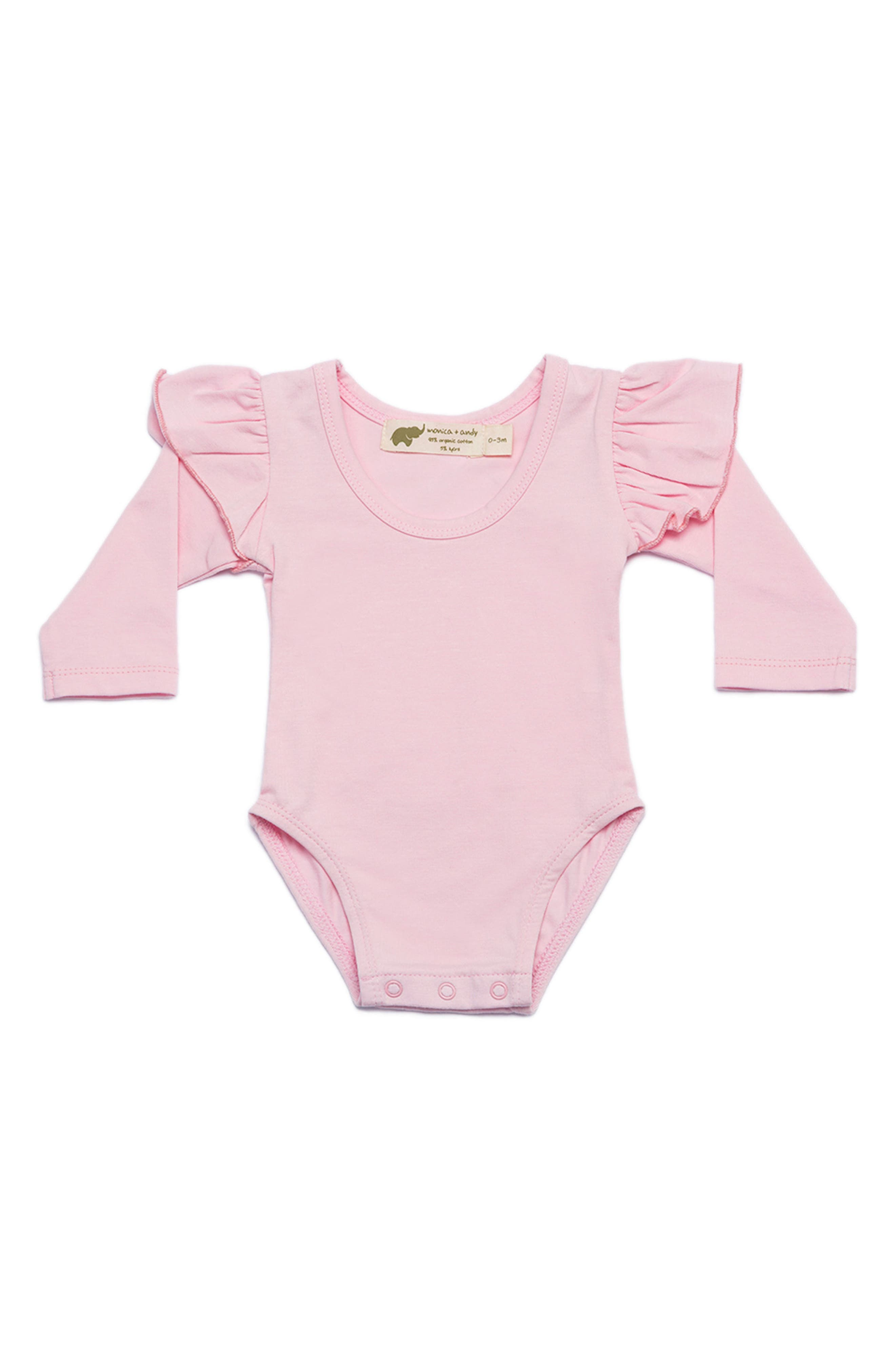 Double Ruffle Bodysuit,                         Main,                         color, Baby Pink