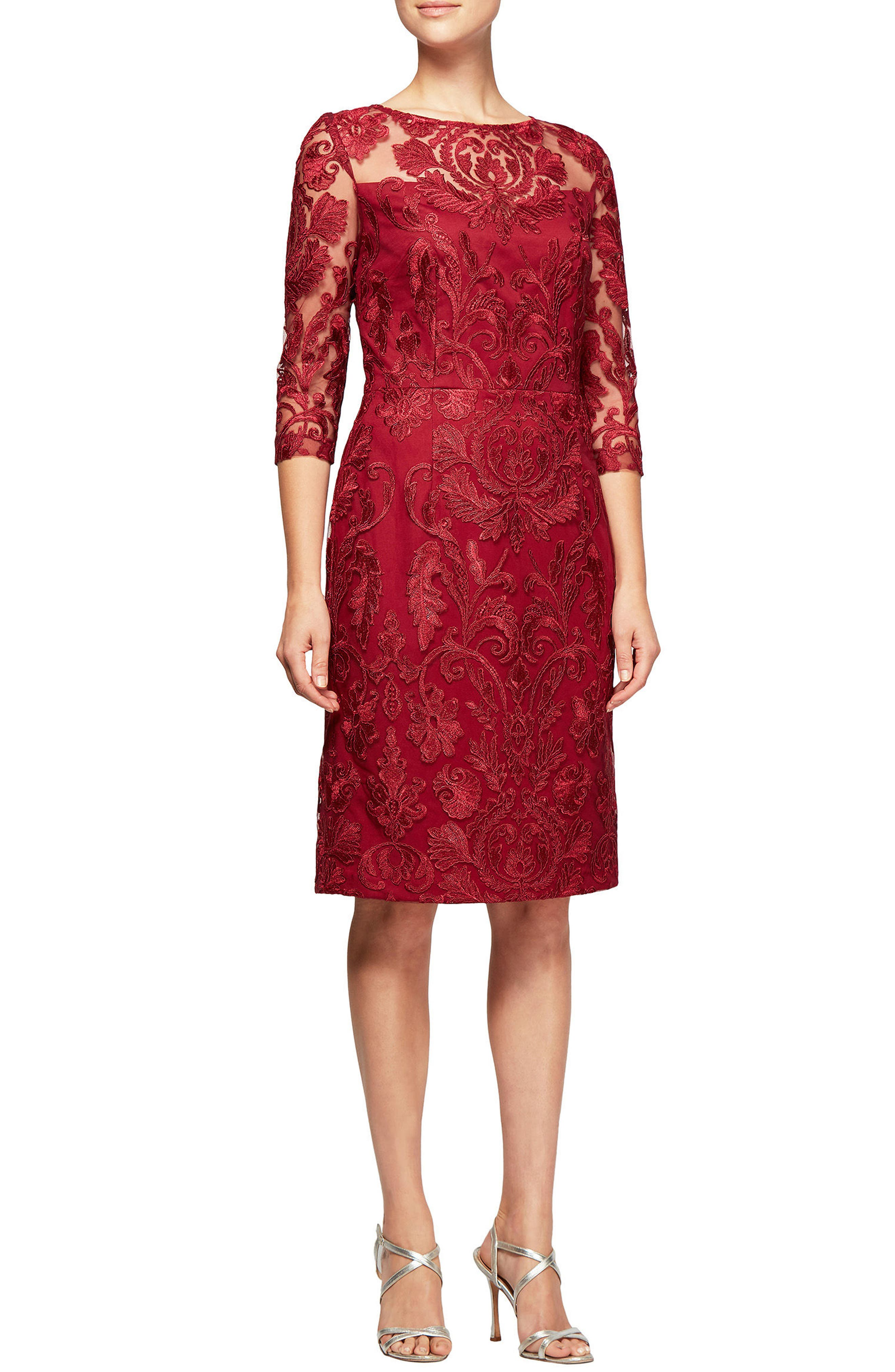 Embroidered Illusion Shift Dress,                         Main,                         color, Cranberry