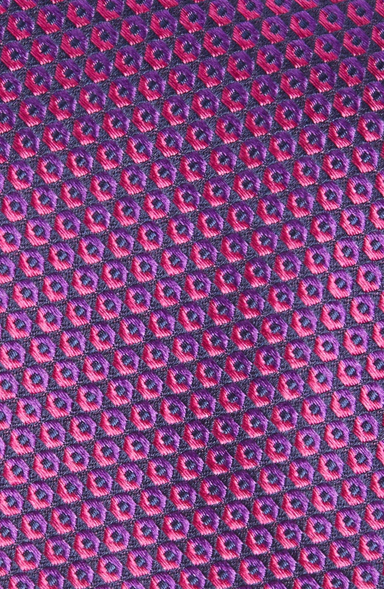 Geometric Silk Tie,                             Alternate thumbnail 2, color,                             Fuchsia