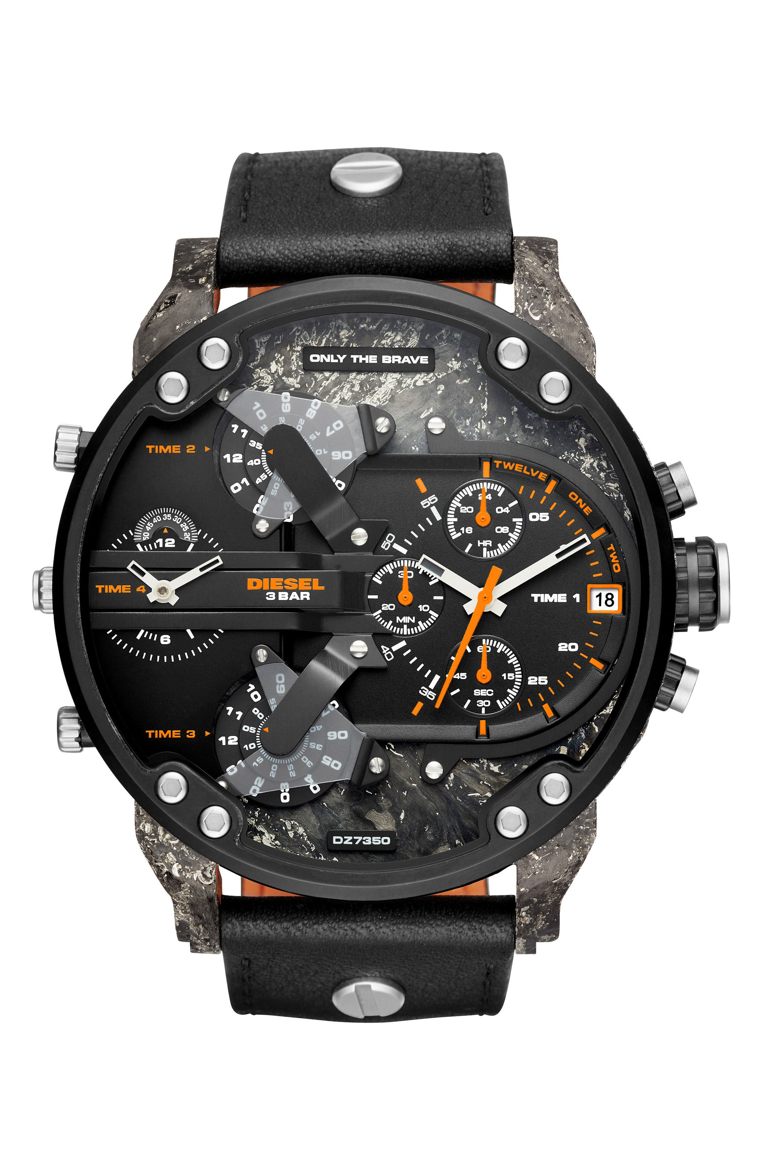 Mr. Daddy 2.0 Chronograph Leather Strap Watch, 57mm x 66mm,                             Main thumbnail 1, color,                             Ip Black/ Carbon
