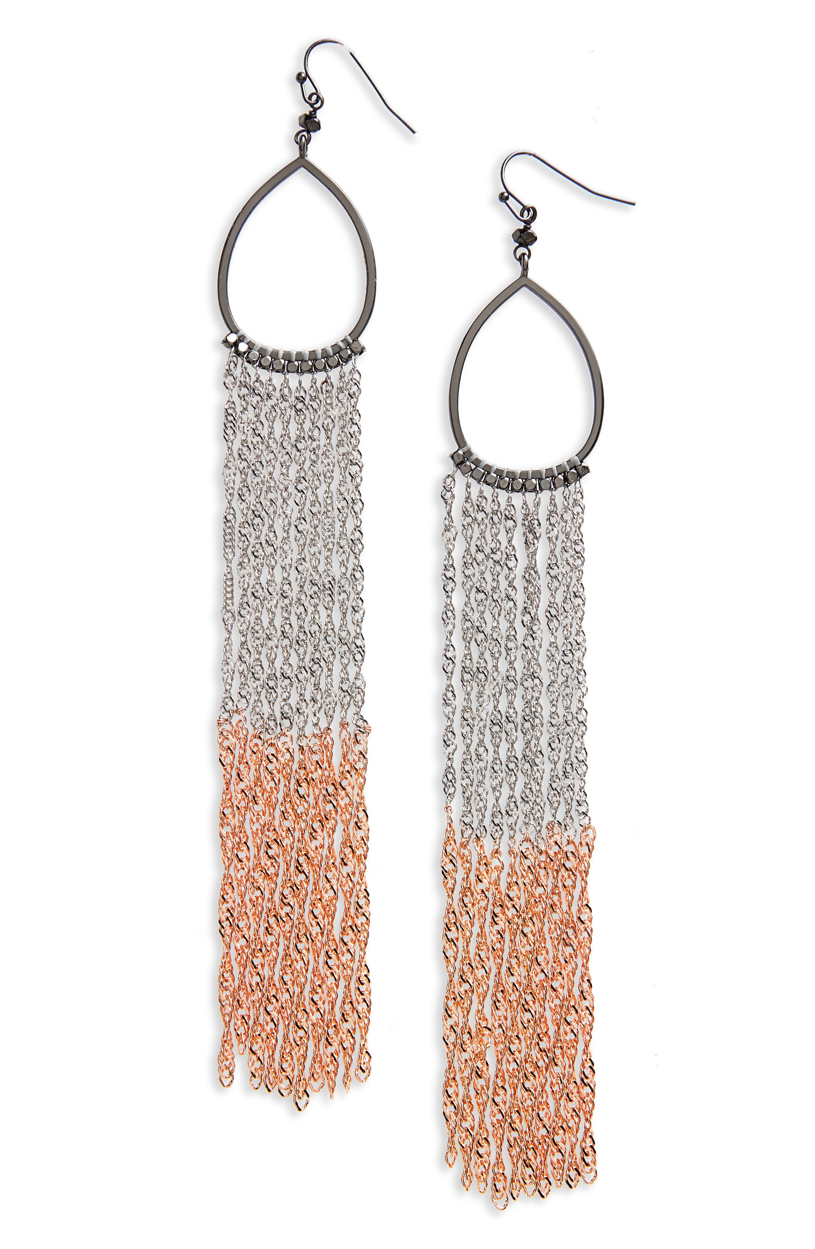 Extra Long Chain Fringe Earrings,                         Main,                         color, Silver/ Copper