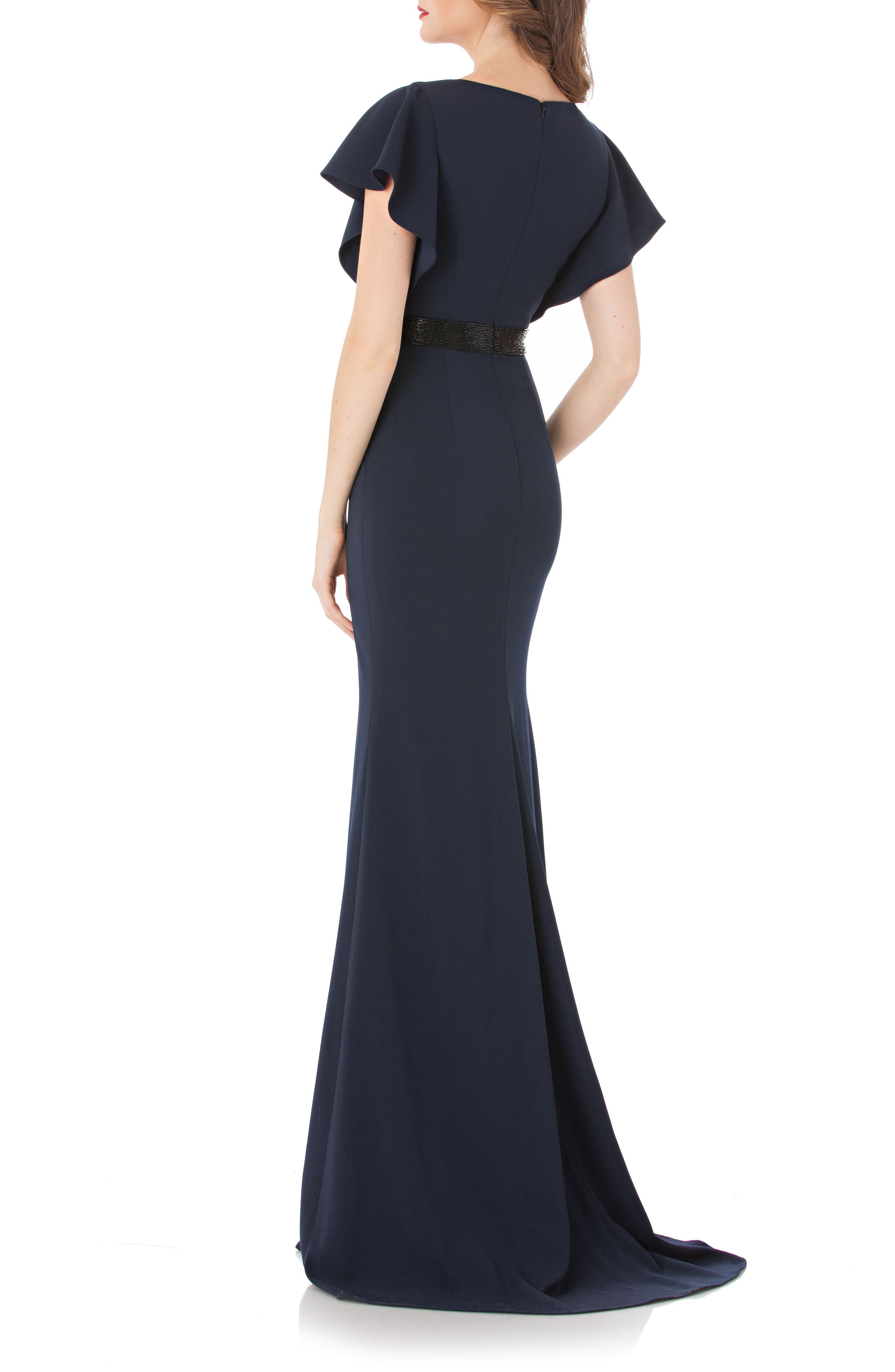 Beaded Flutter Sleeve Gown,                             Alternate thumbnail 2, color,                             Midnight Navy