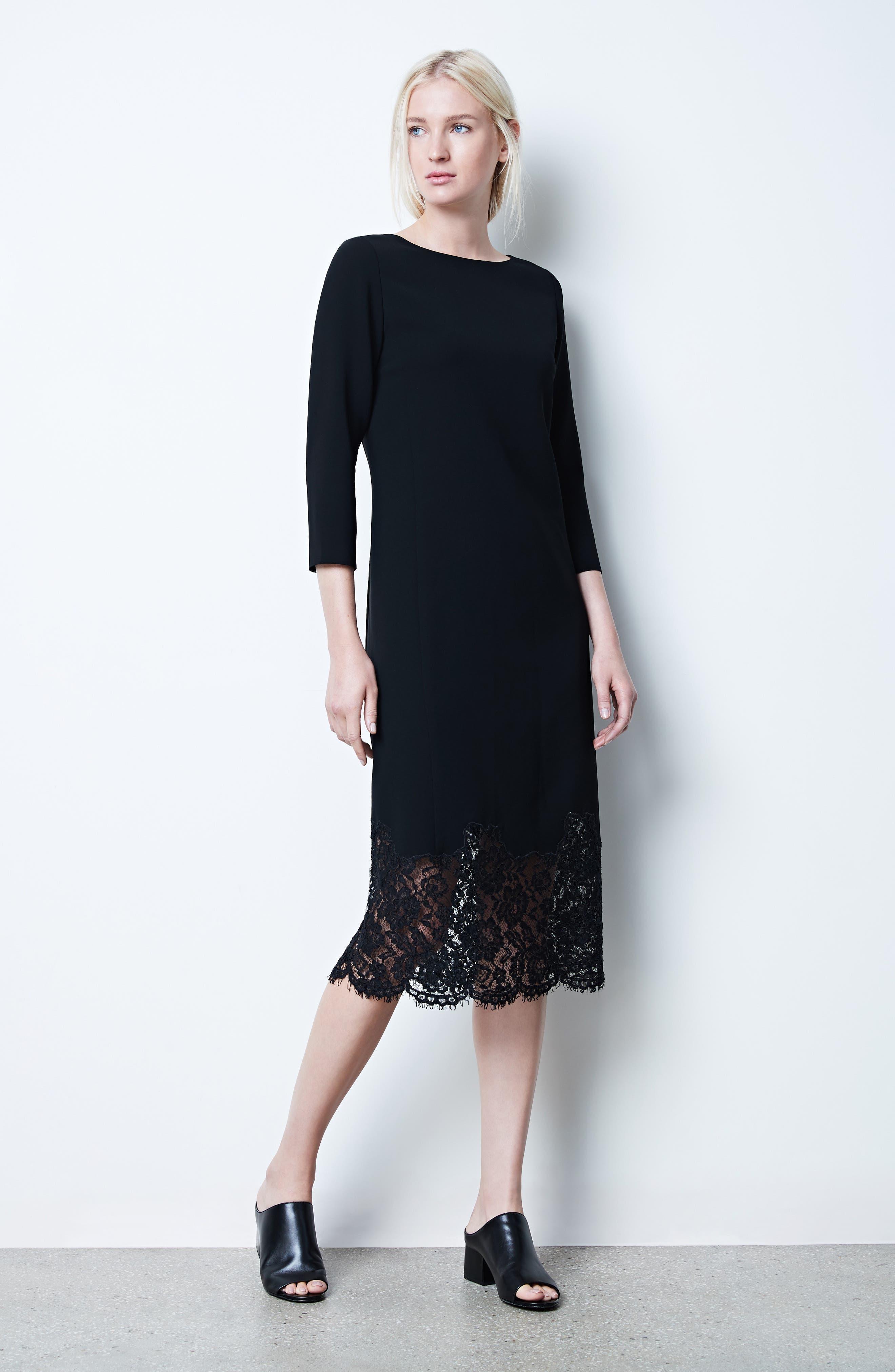 Mya Lace Hem Dress,                             Alternate thumbnail 2, color,                             Black