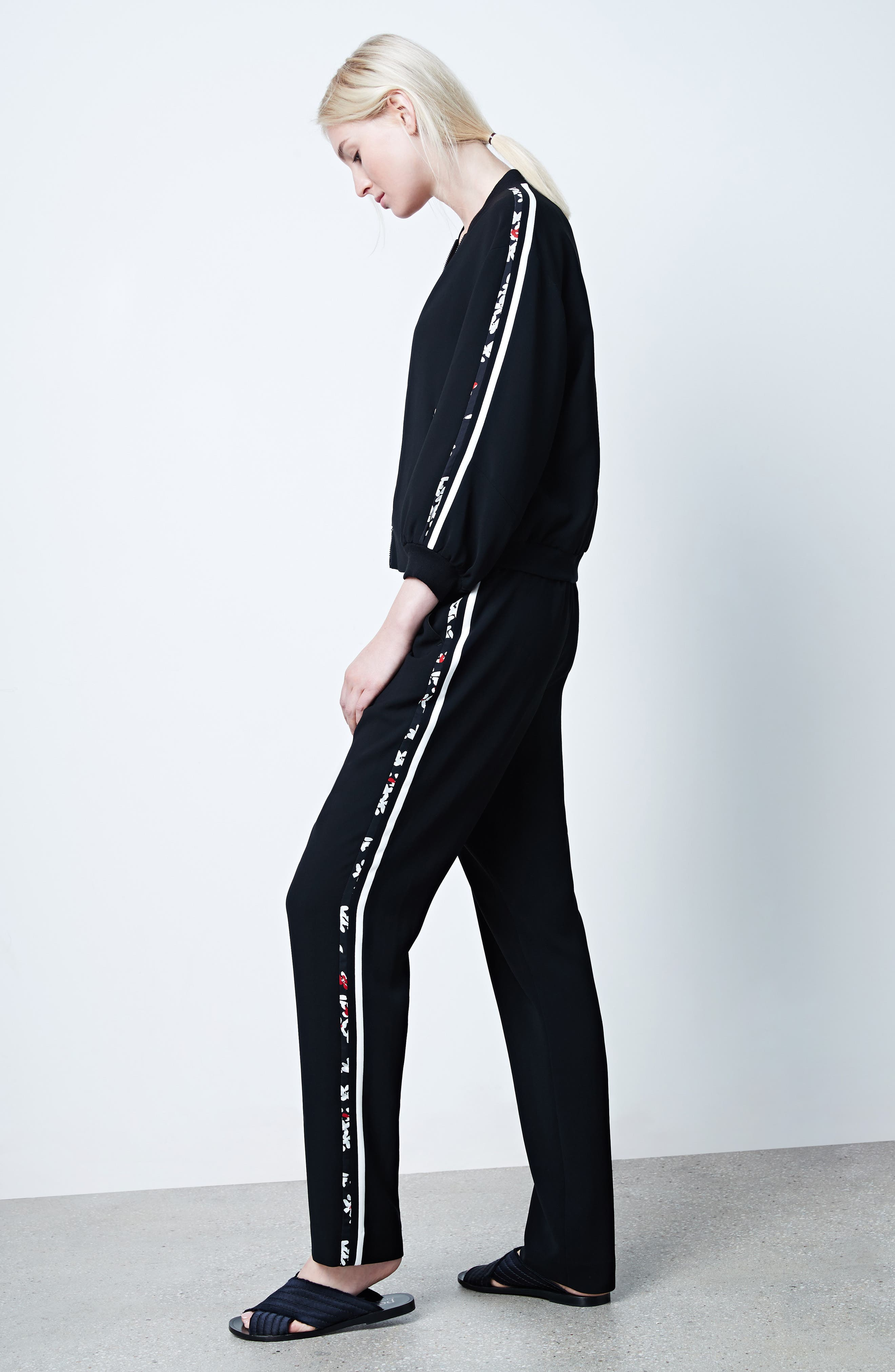 Floral Stripe Track Pants,                             Alternate thumbnail 2, color,                             Black