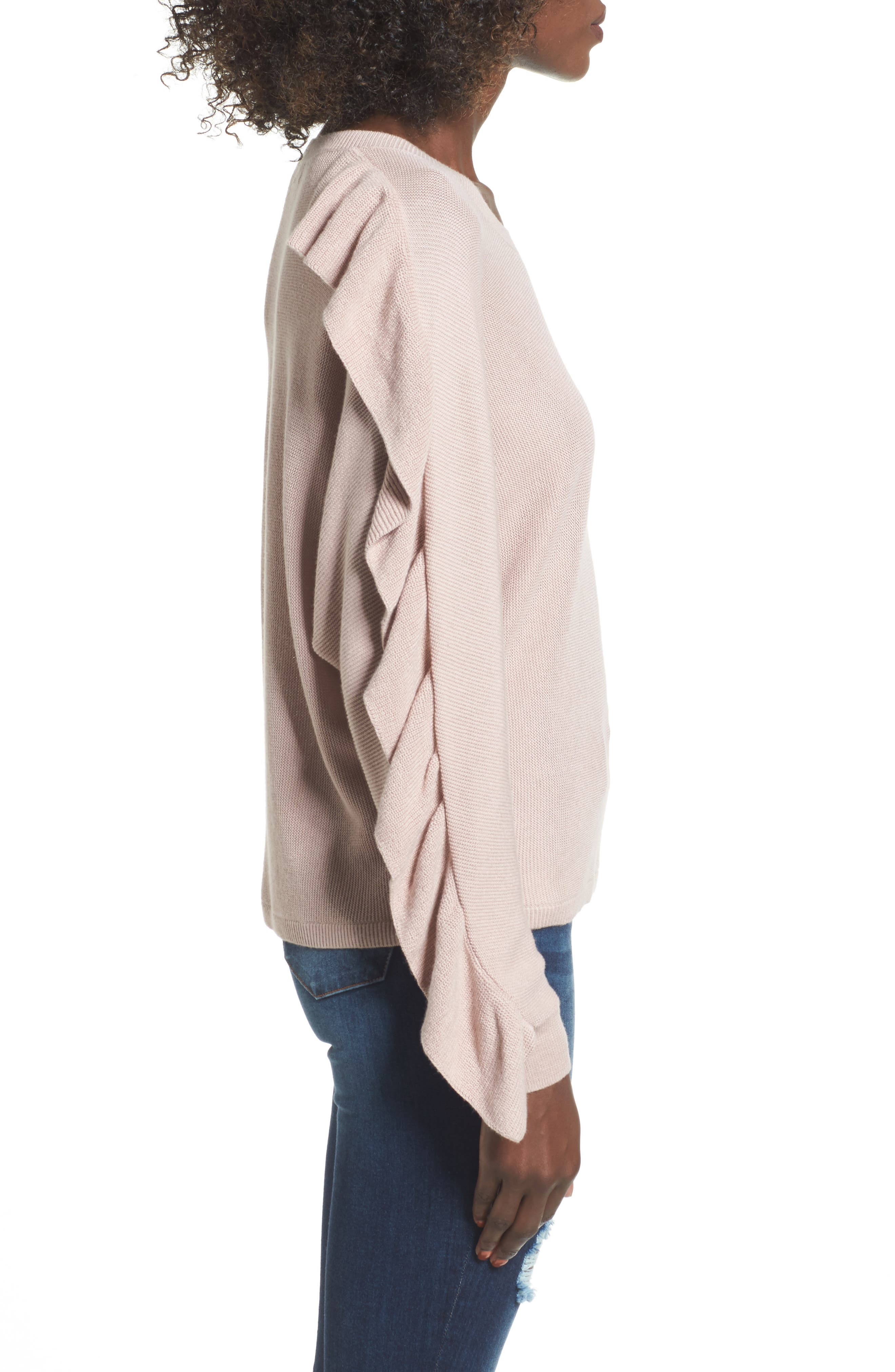 Ruffle Sleeve Sweater,                             Alternate thumbnail 3, color,                             Pink Adobe