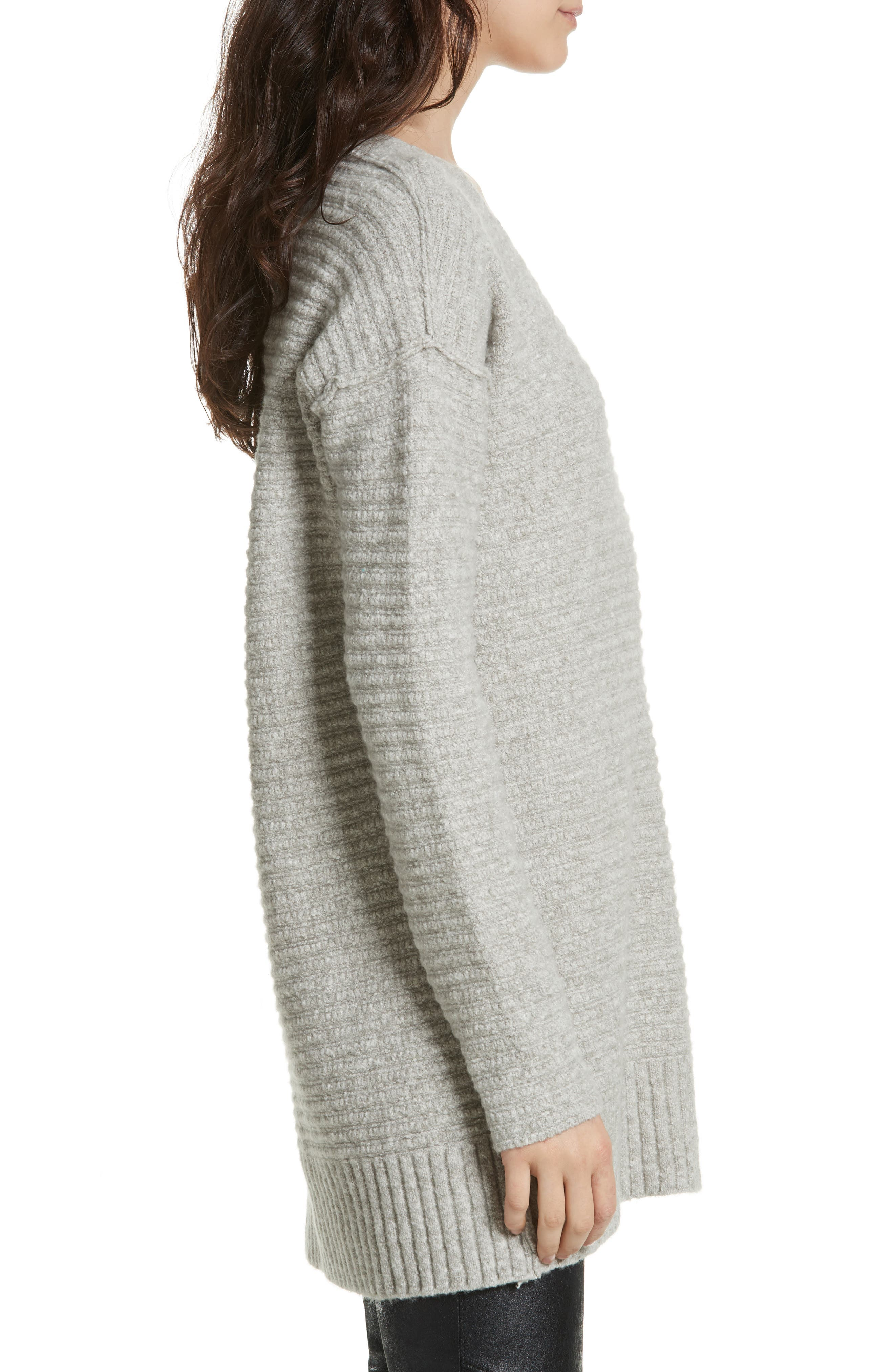 Heart It Laces Sweater,                             Alternate thumbnail 3, color,                             Grey