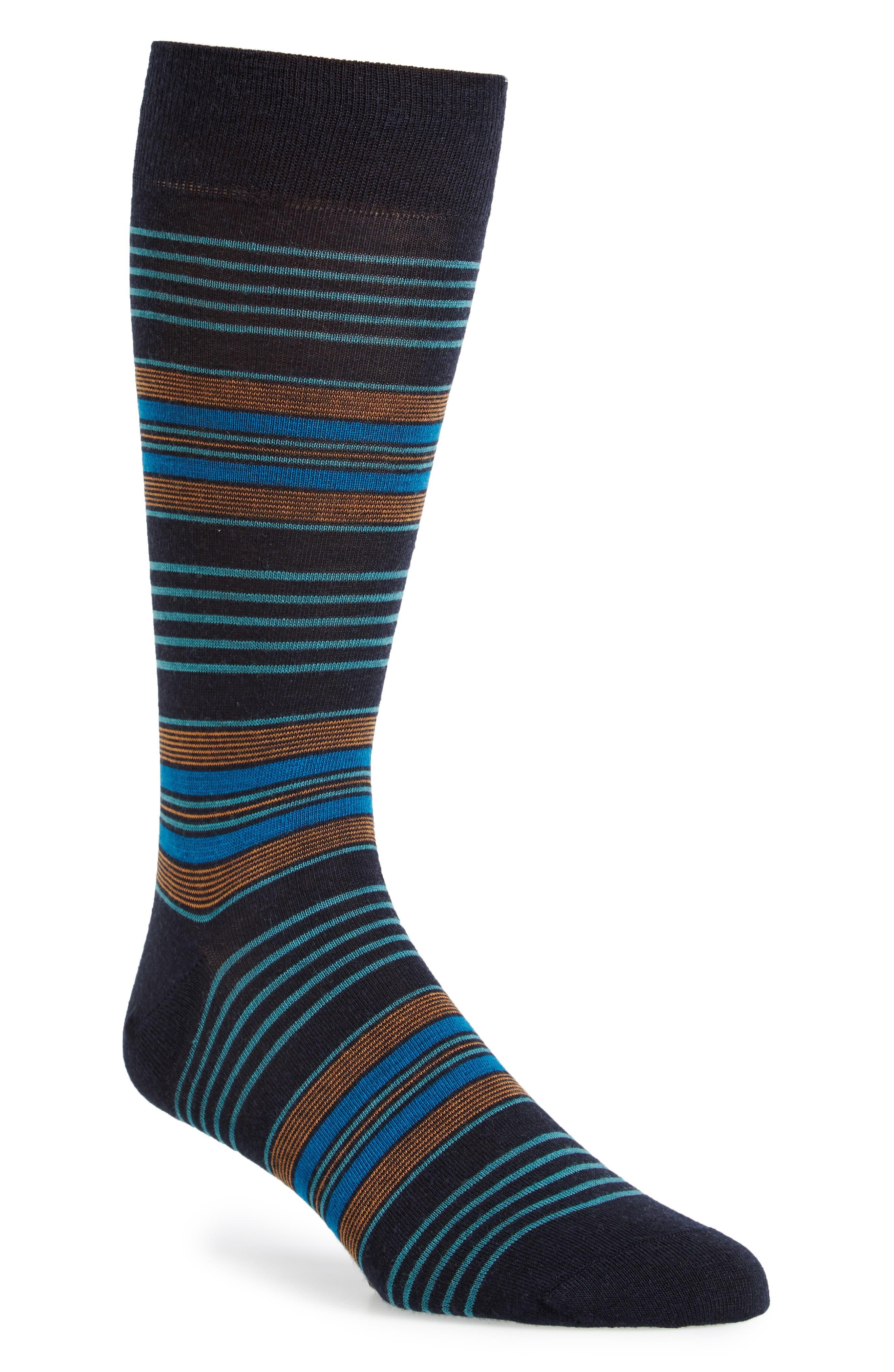 Stripe Socks,                         Main,                         color, Navy