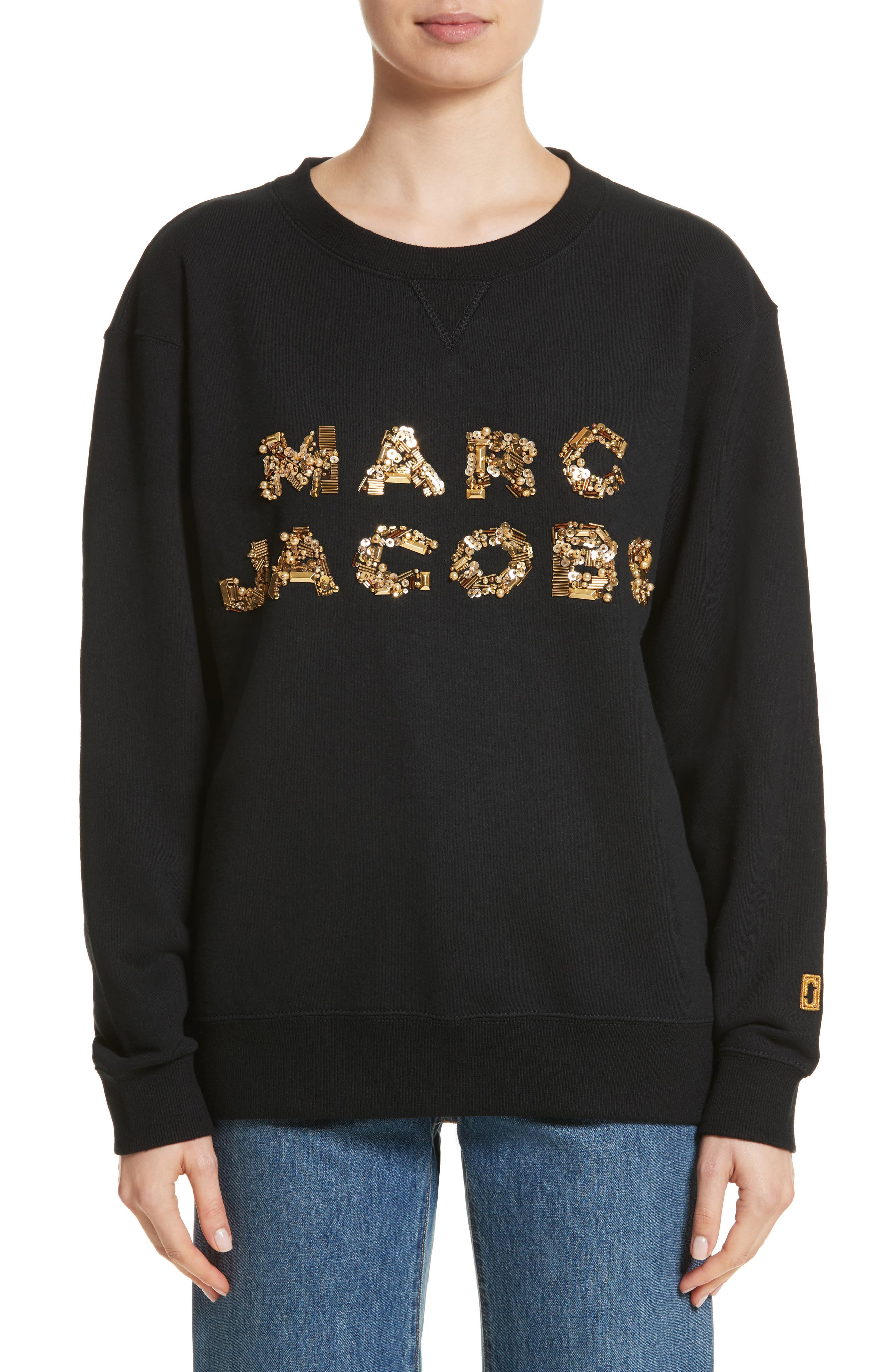 Embroidered Logo Sweatshirt,                         Main,                         color, Black