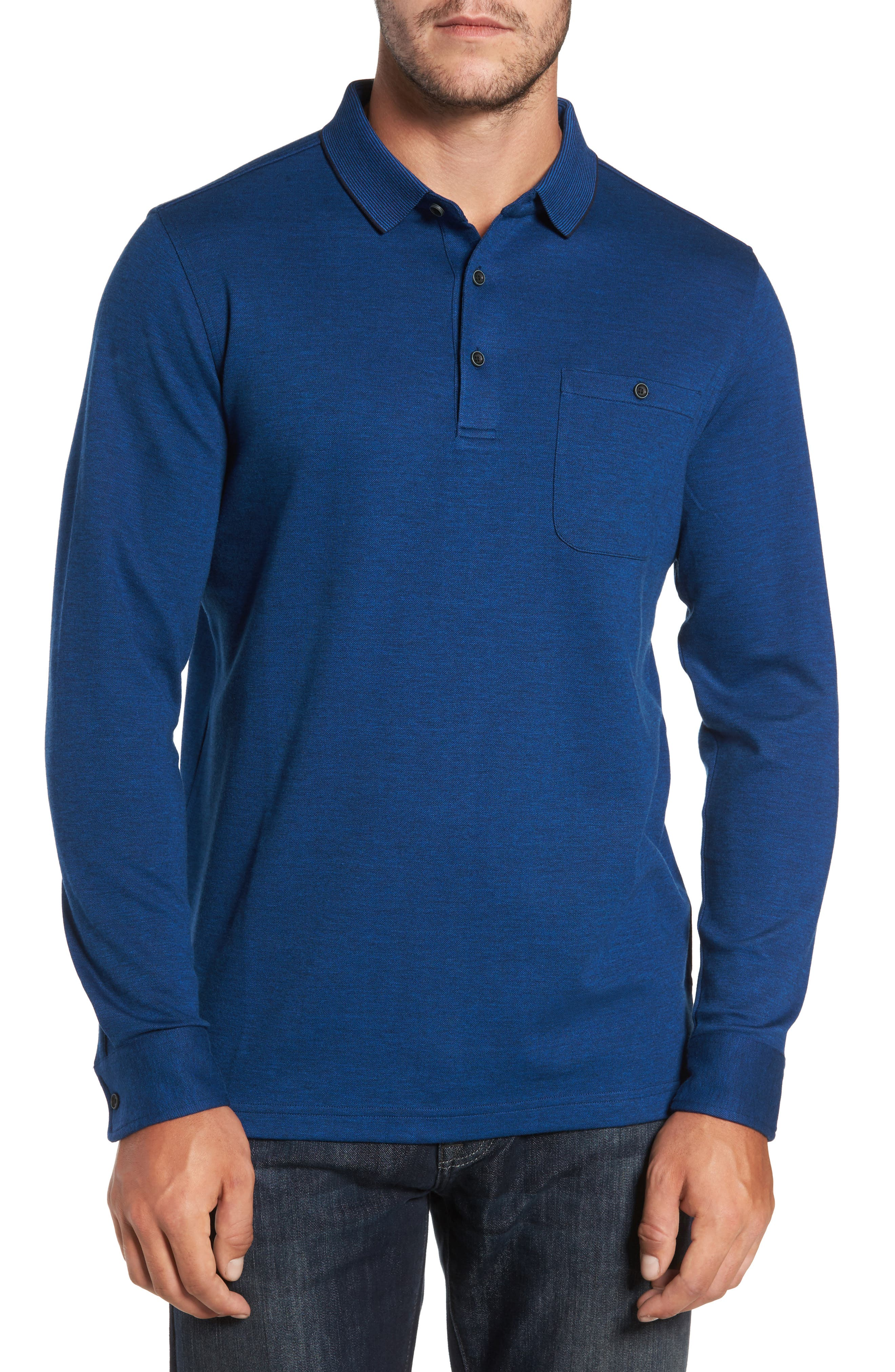 Classic Fit Piqué Polo,                         Main,                         color, Night Blue