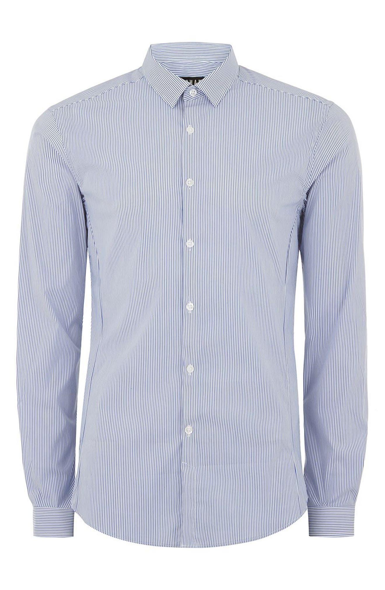 Muscle Fit Smart Shirt,                             Alternate thumbnail 6, color,                             Blue Multi