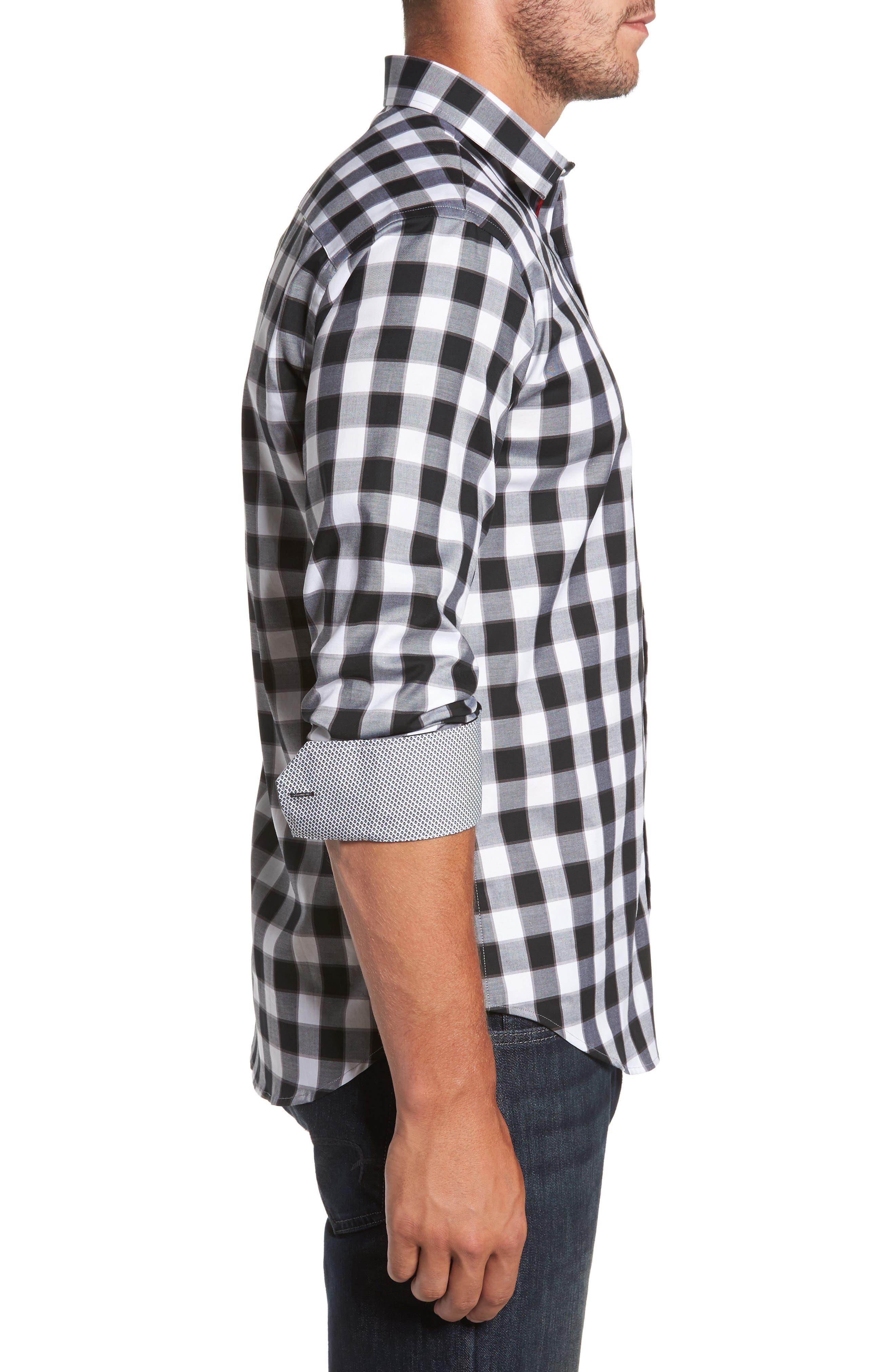 Alternate Image 3  - Bugatchi Trim Fit Buffalo Plaid Sport Shirt