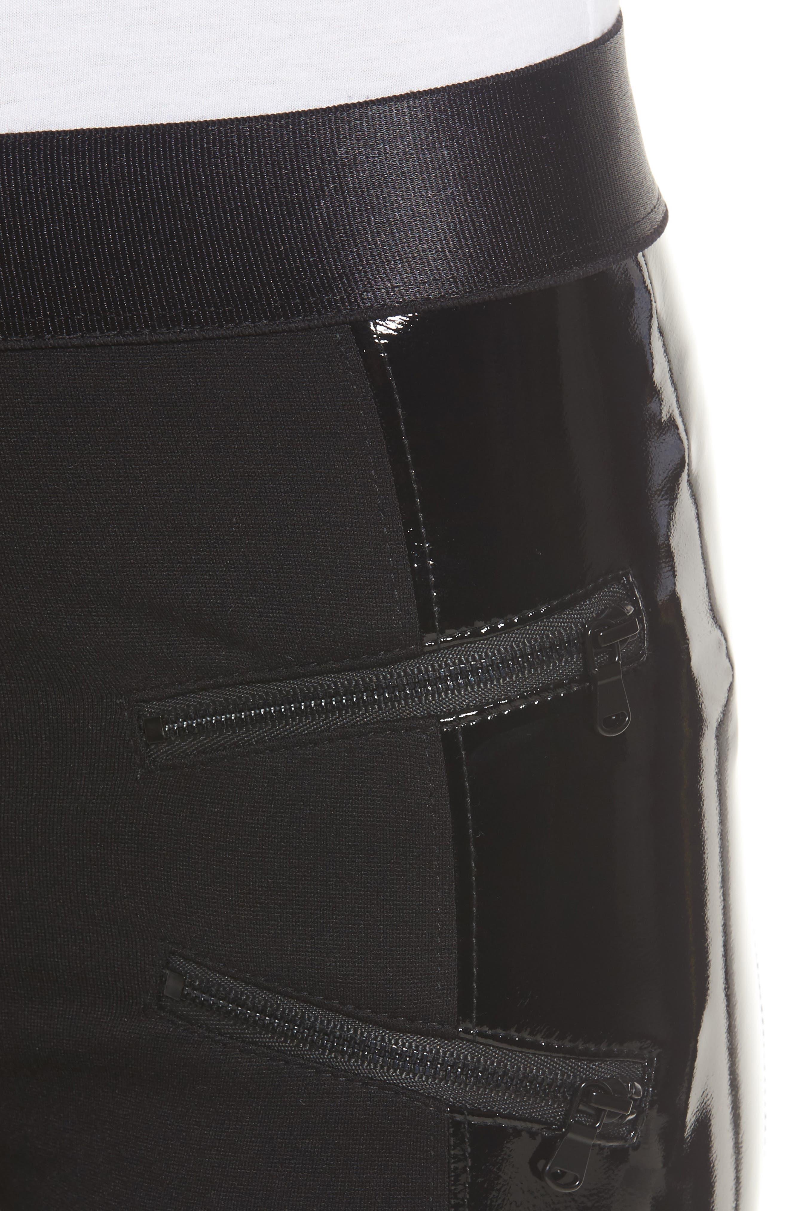 Starburst High Waist Leggings,                             Alternate thumbnail 5, color,                             Black