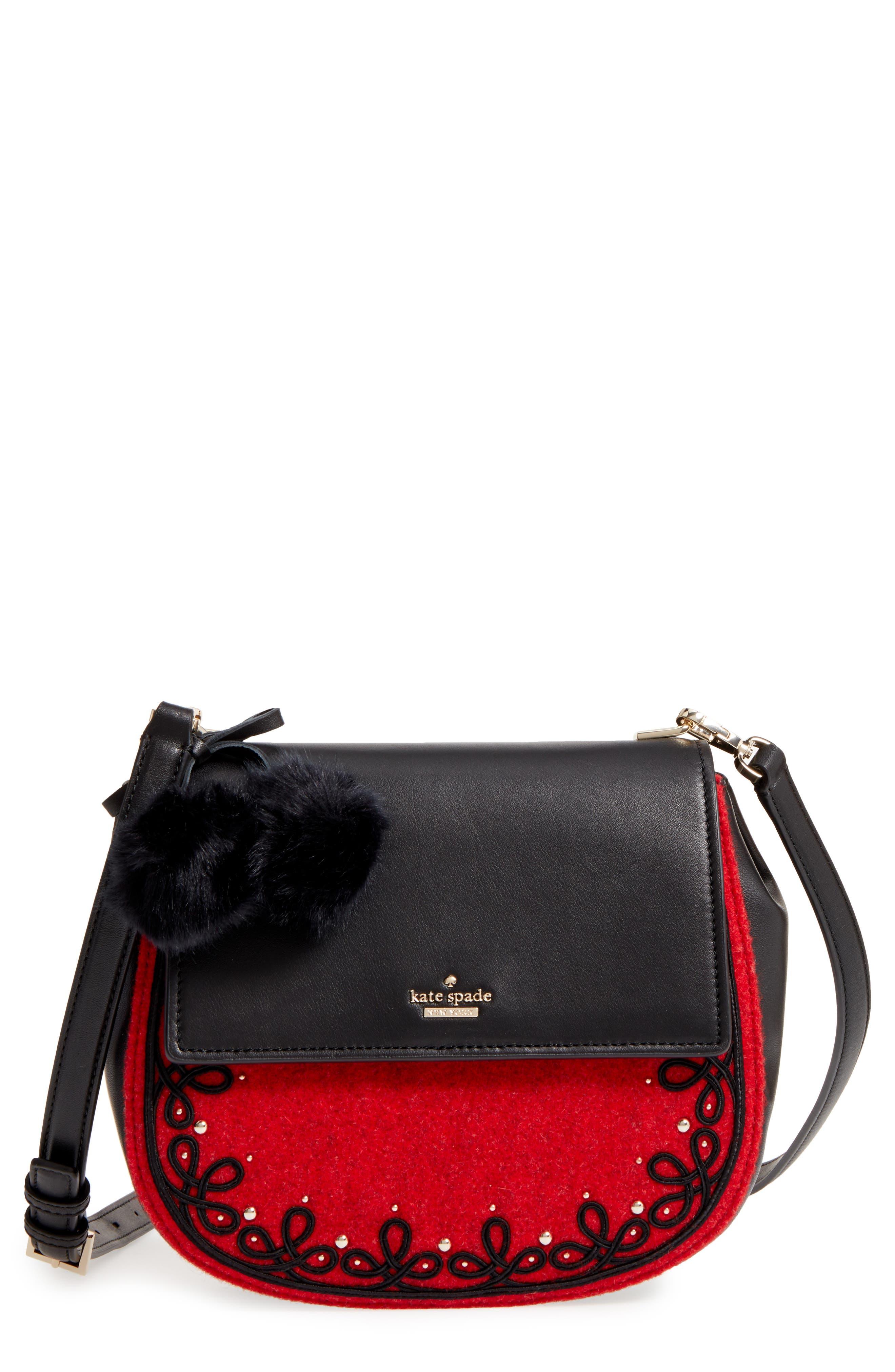 byrne street - byrdie embellished leather & wool saddle bag,                         Main,                         color, Red Carpet