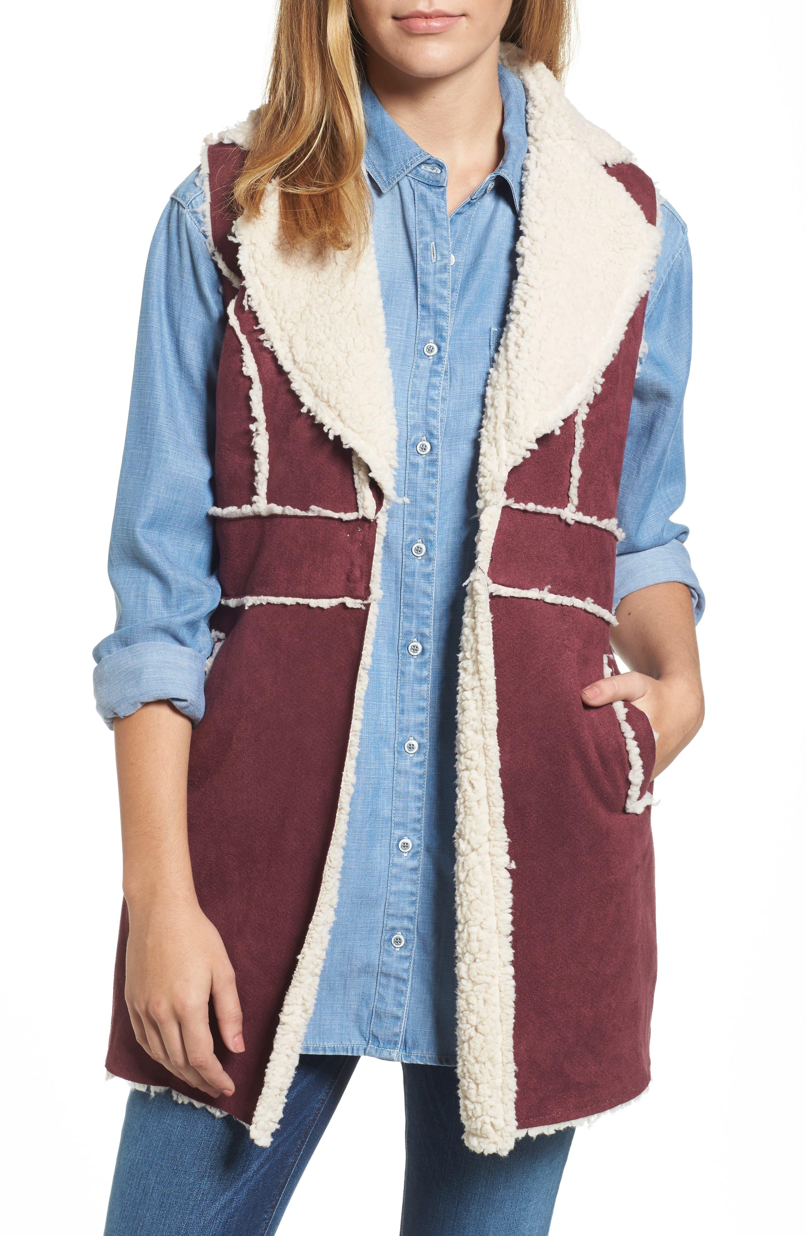 Bridget Faux Shearling Vest,                         Main,                         color, Wine