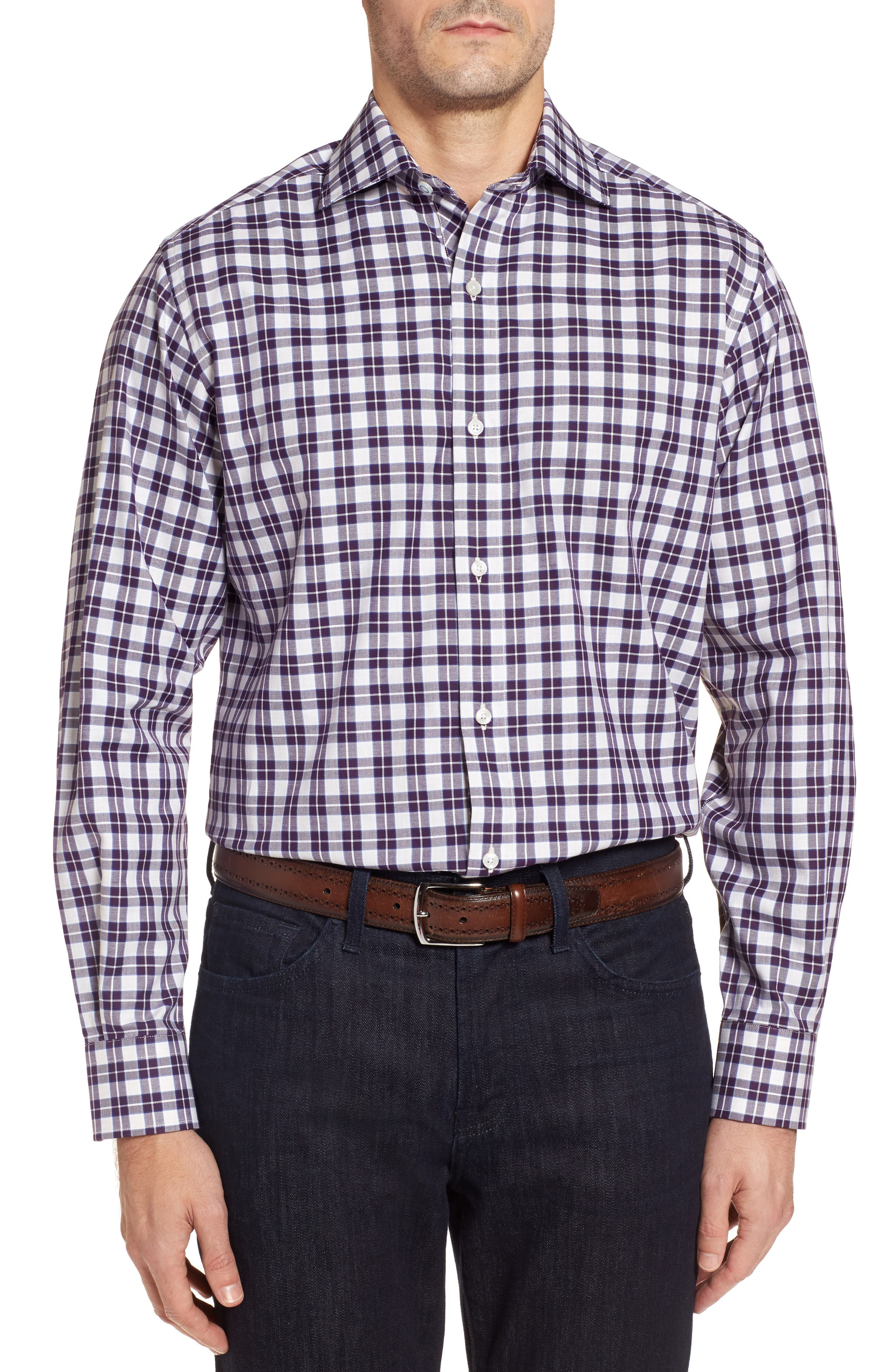Alternate Image 1 Selected - TailorByrd Cameron Regular Fit Plaid Sport Shirt