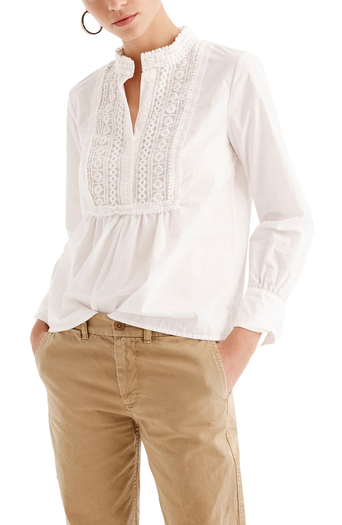 J.Crew Lace Bib Popover Shirt,                         Main,                         color, White