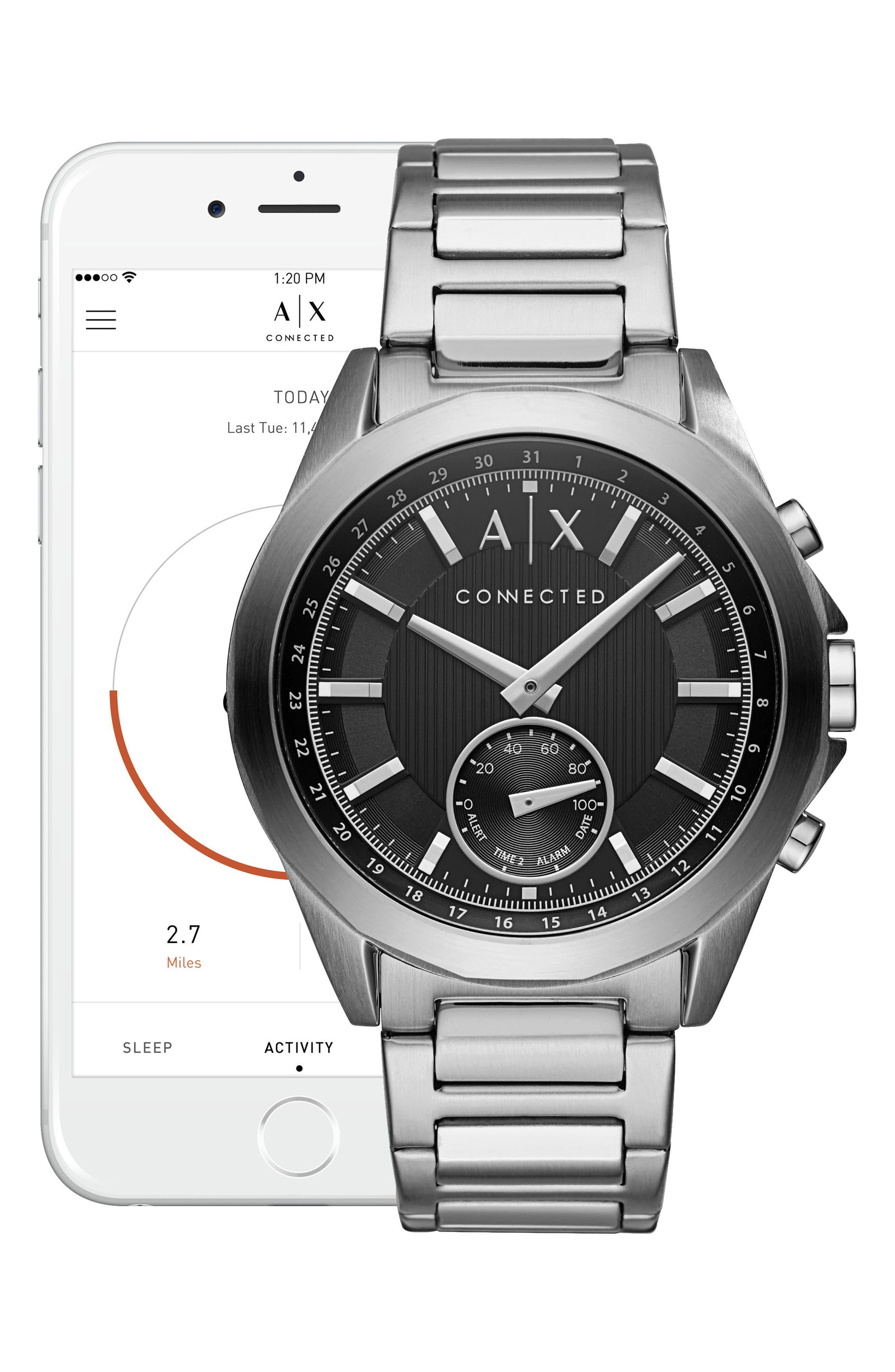 Connected Hybrid Bracelet Smartwatch, 44mm,                             Alternate thumbnail 4, color,                             Black/ Stainless Steel