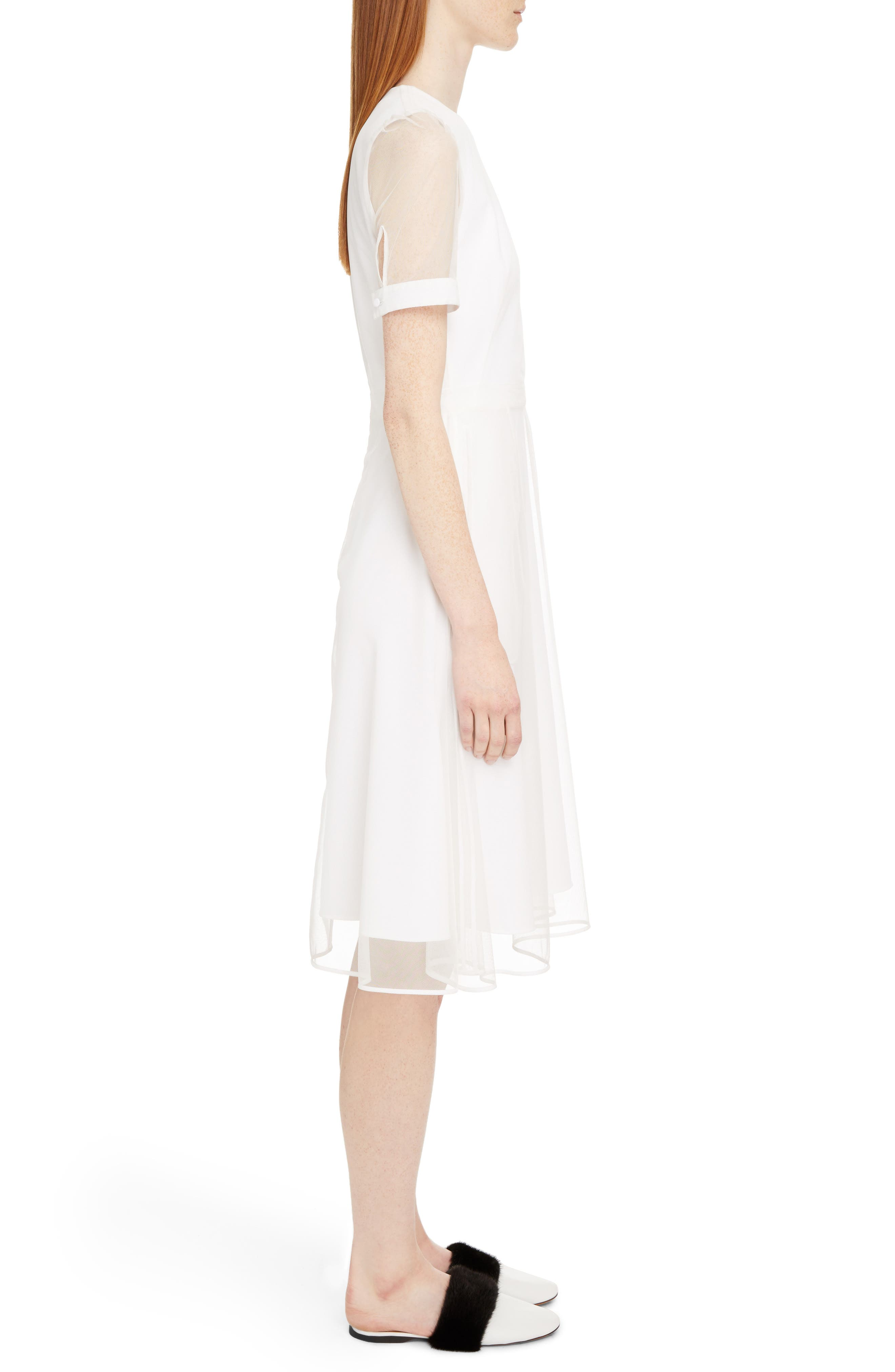 Sheer Overlay Stretch Cady Dress,                             Alternate thumbnail 3, color,                             White