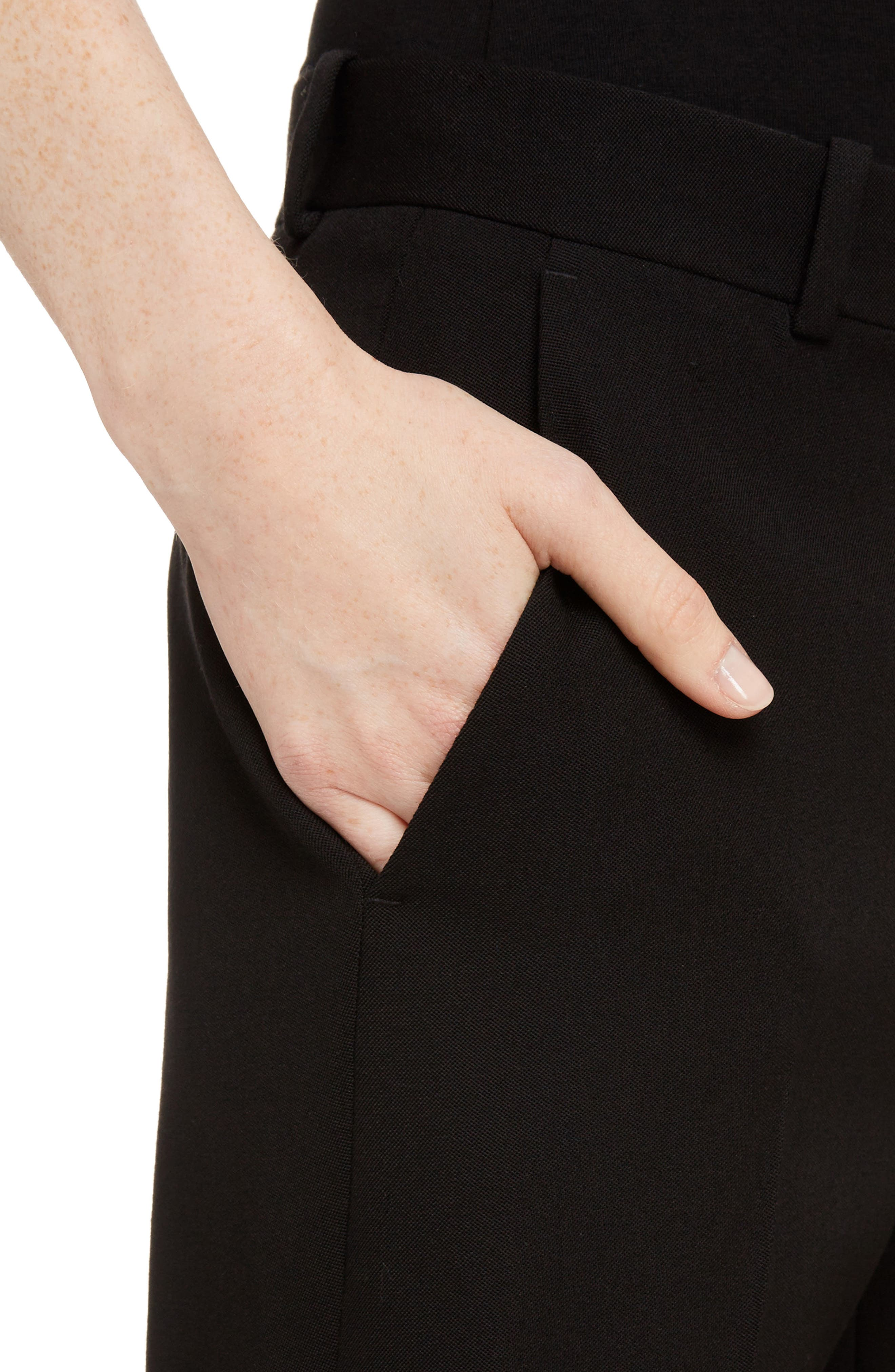 Wool Straight Leg Pants,                             Alternate thumbnail 4, color,                             Black