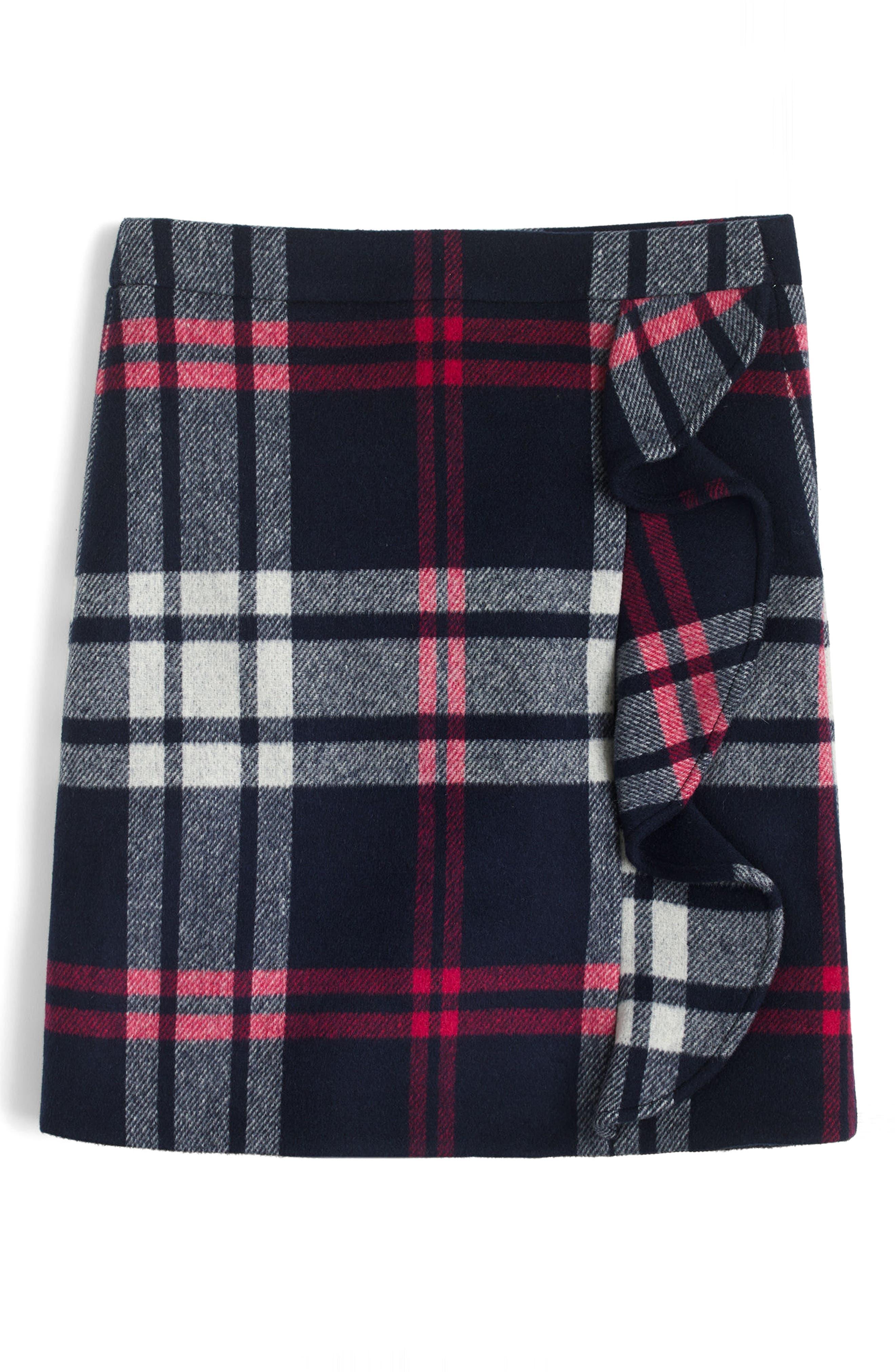 Plaid Ruffle Double-Serge Wool Mini Skirt,                             Alternate thumbnail 4, color,                             Red Navy White