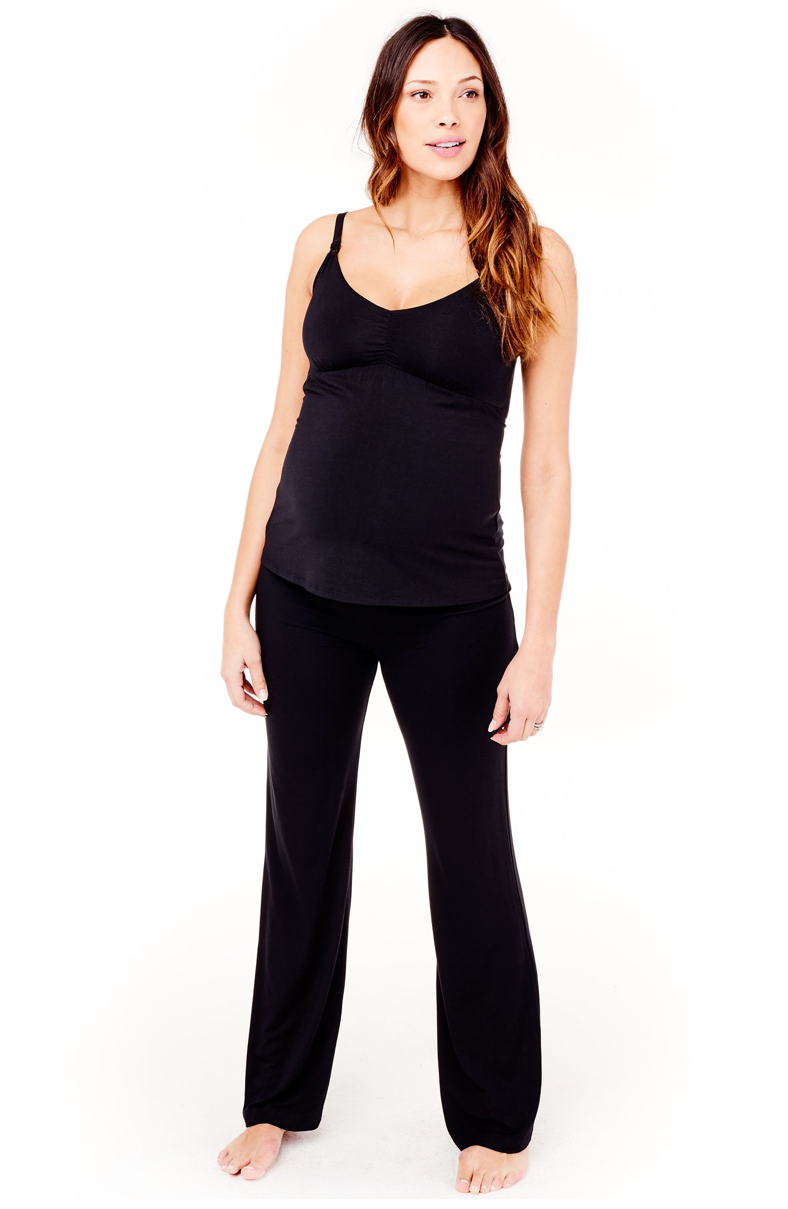 Maternity Lounge Pants,                             Alternate thumbnail 6, color,                             Jet Black