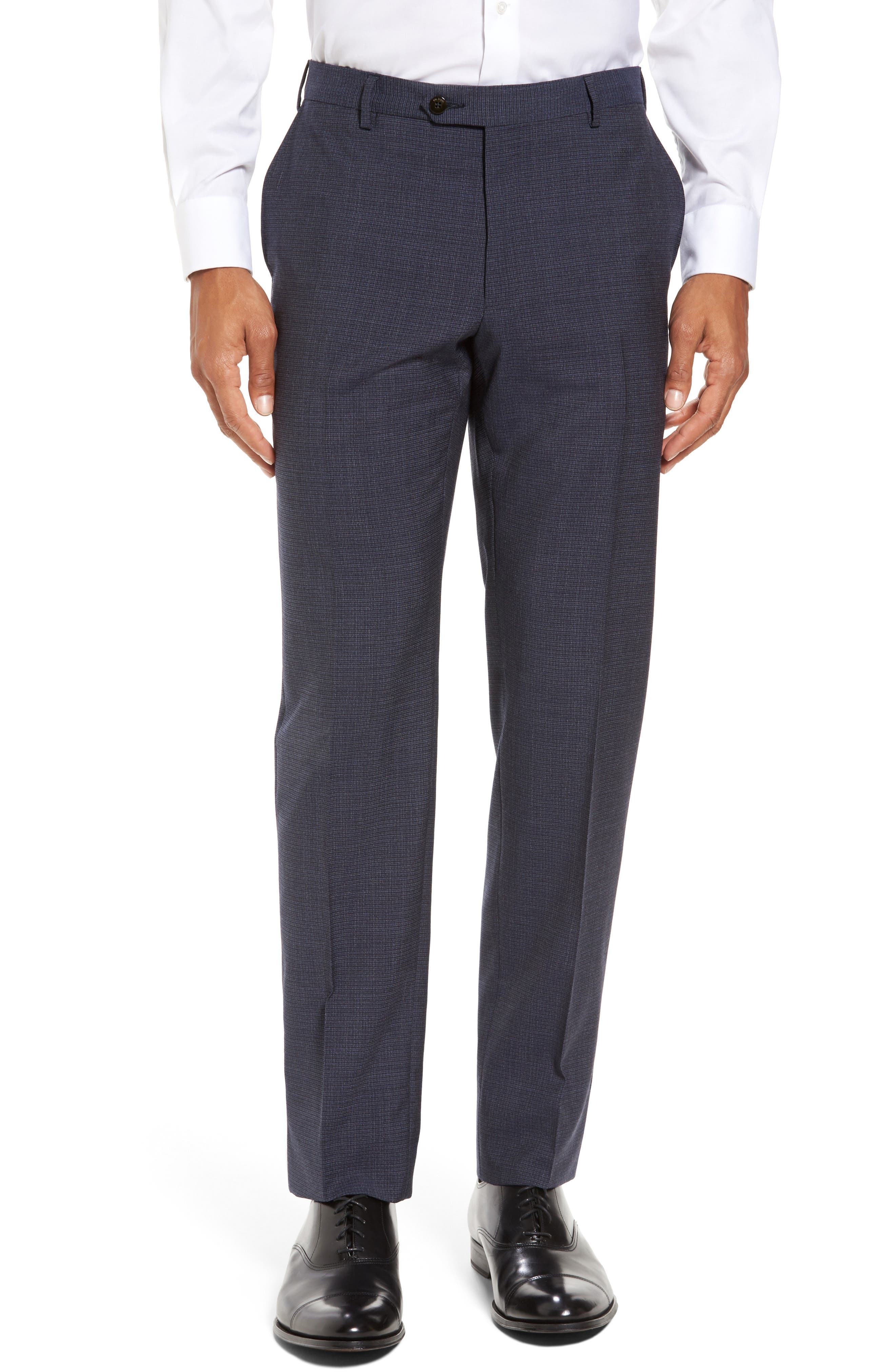 Pal Zileri Marzotto Flat Front Check Wool Trousers